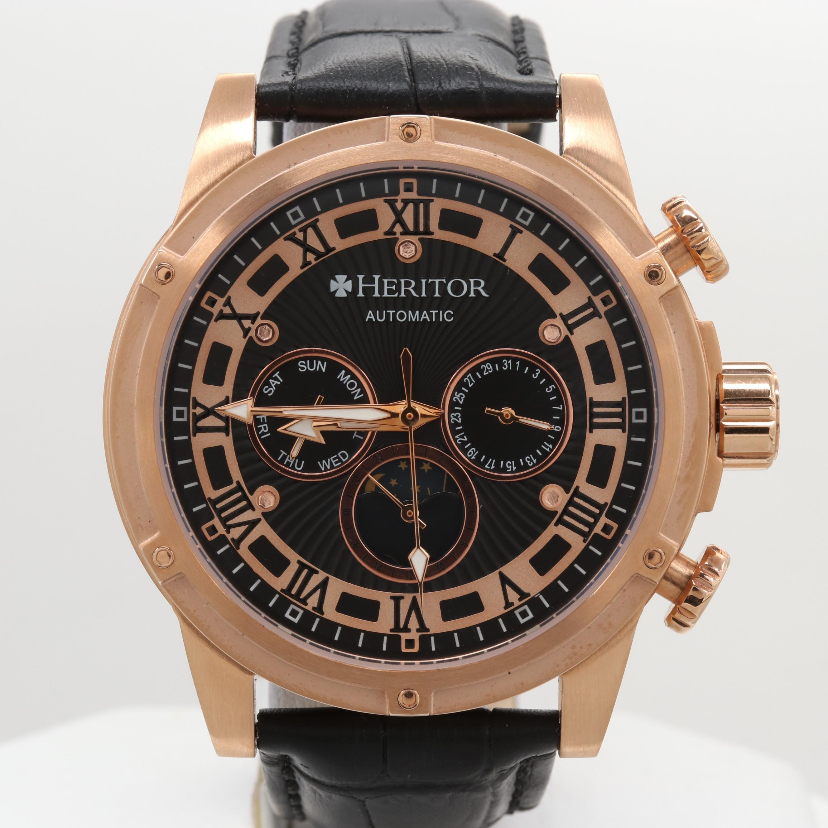 Heritor Rose Gold Tone Day/Date Automatic Wristwatch