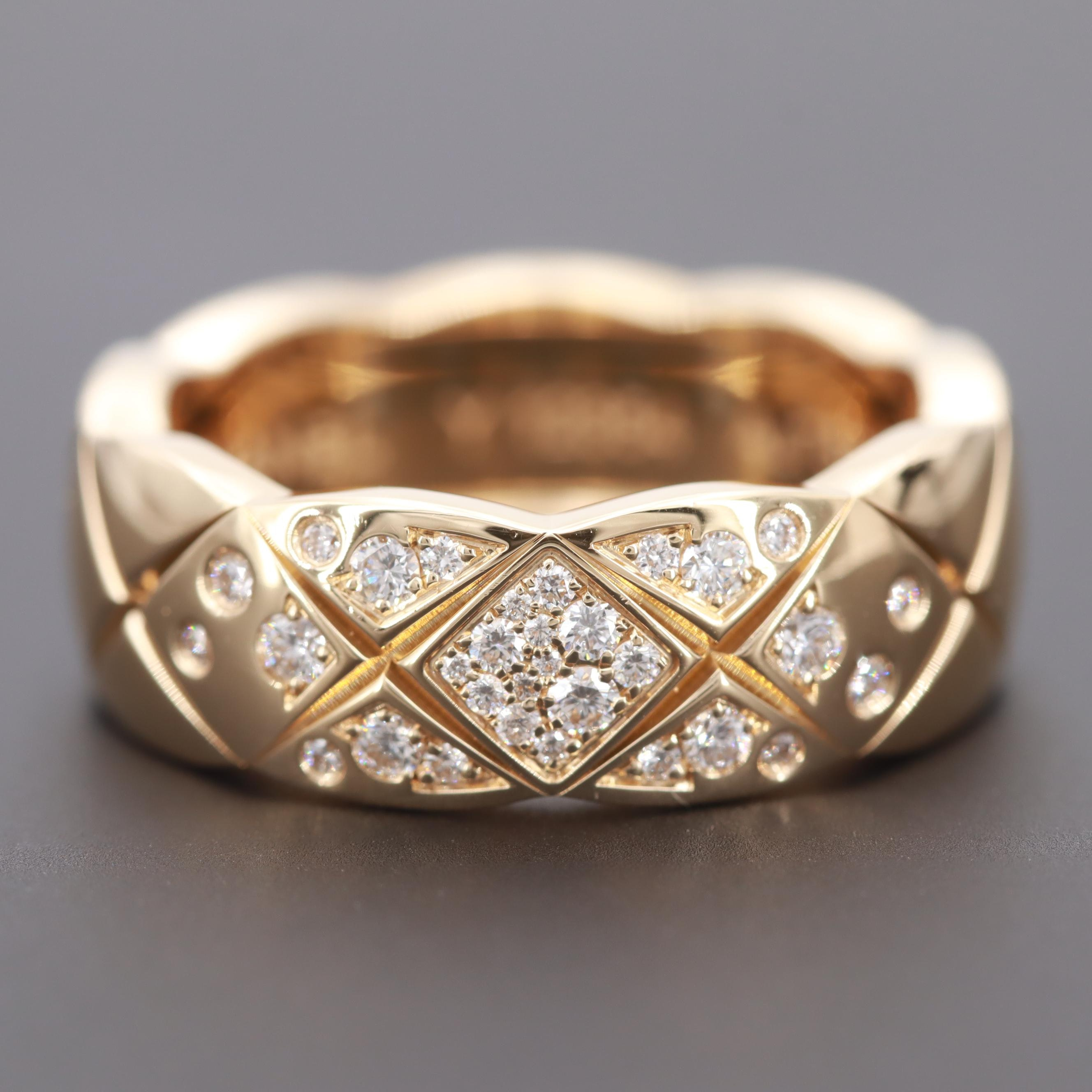 "Channel ""Coco Crush"" 18K Yellow Gold Diamond Ring"