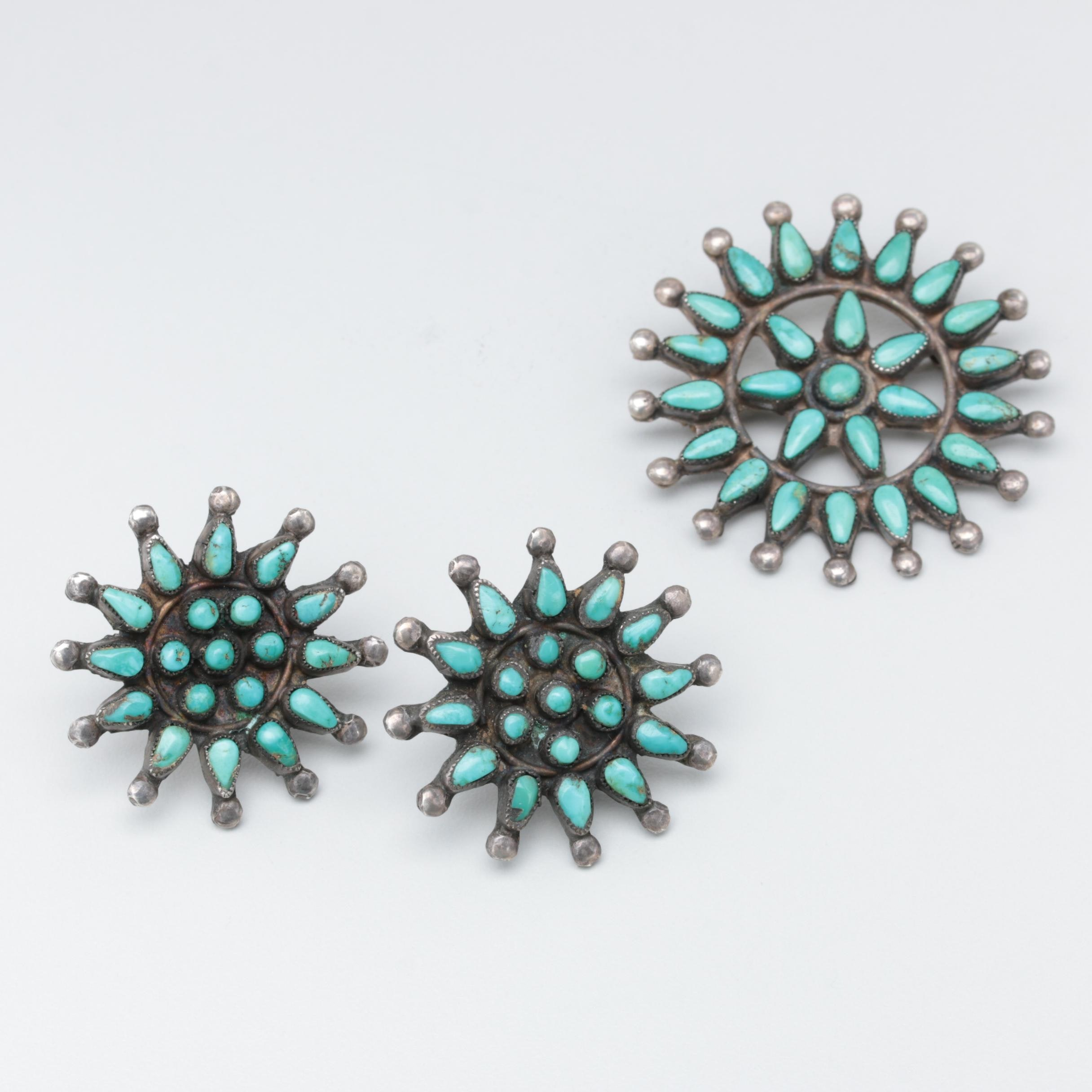 Southwestern Style Sterling Silver Turquoise Petit Point Earrings and Brooch