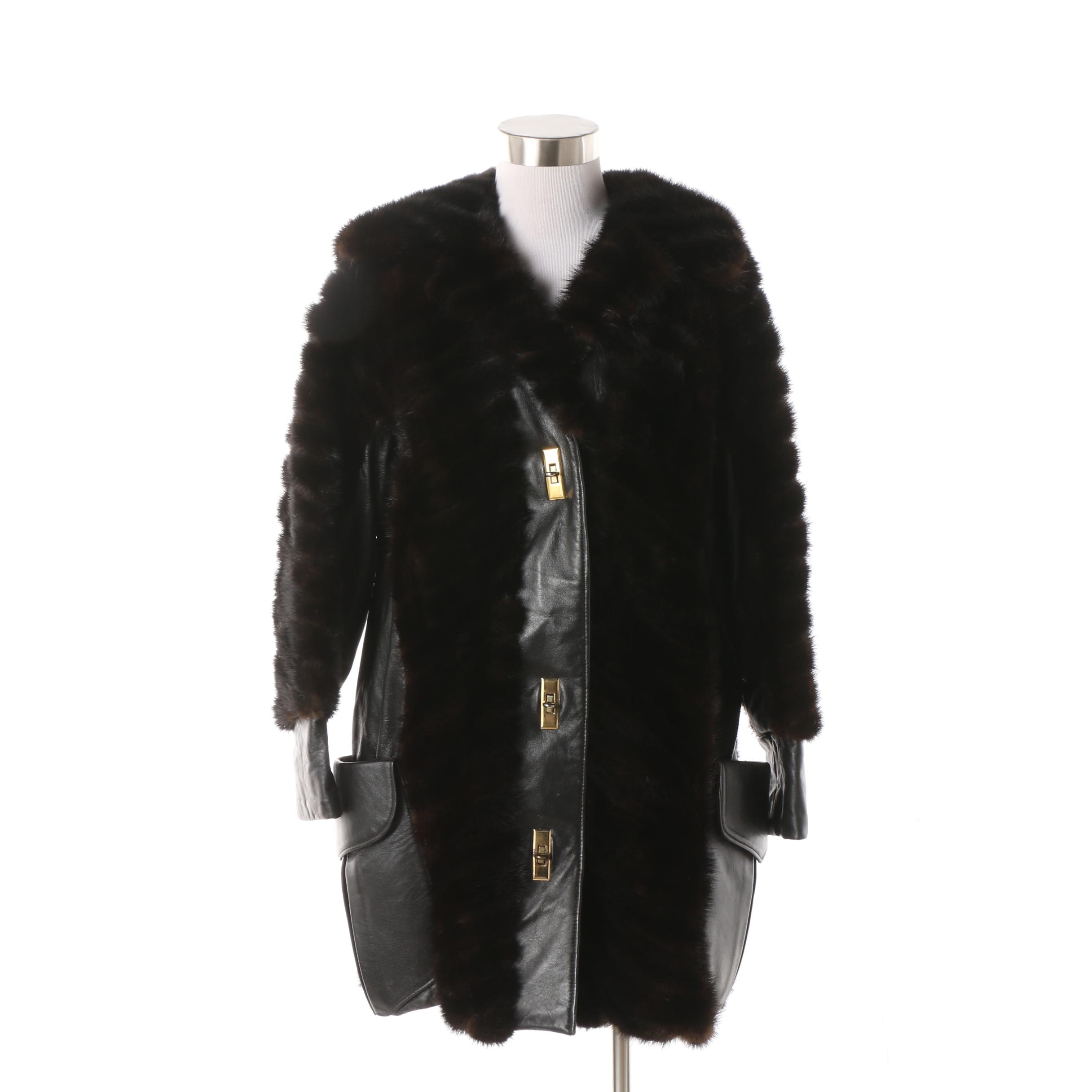 Furs by Francis Black Leather and Mink Fur Coat