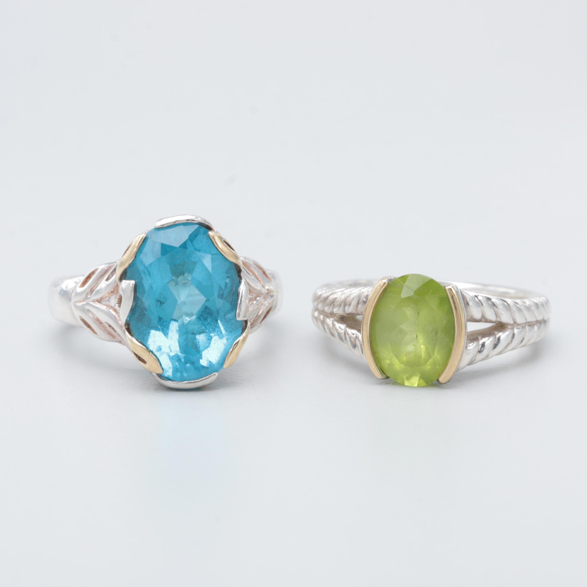 Lorenzo Sterling and 970 Silver Topaz and Peridot Rings with 18K Gold Accents