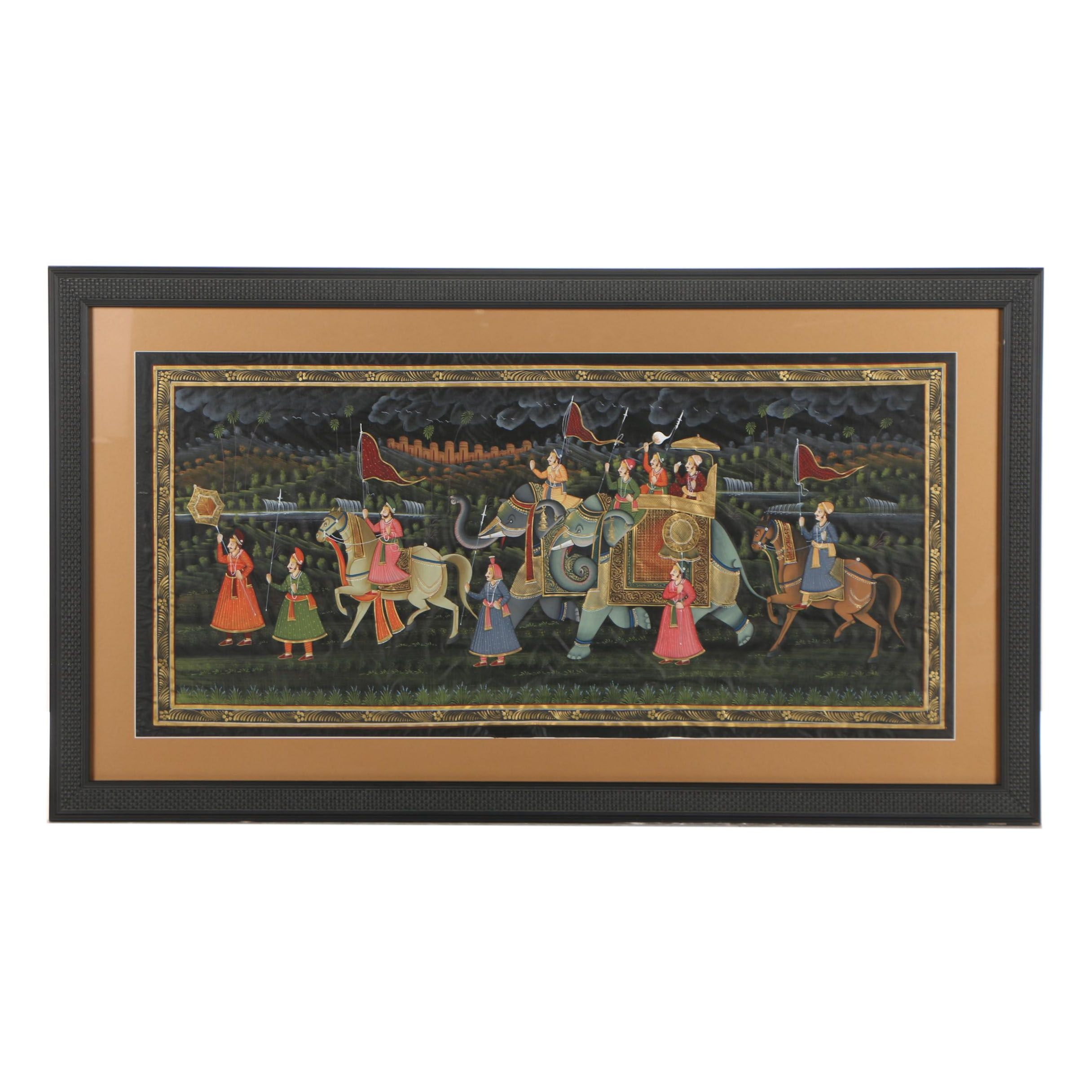 Mughal Style Indian Gouache Painting
