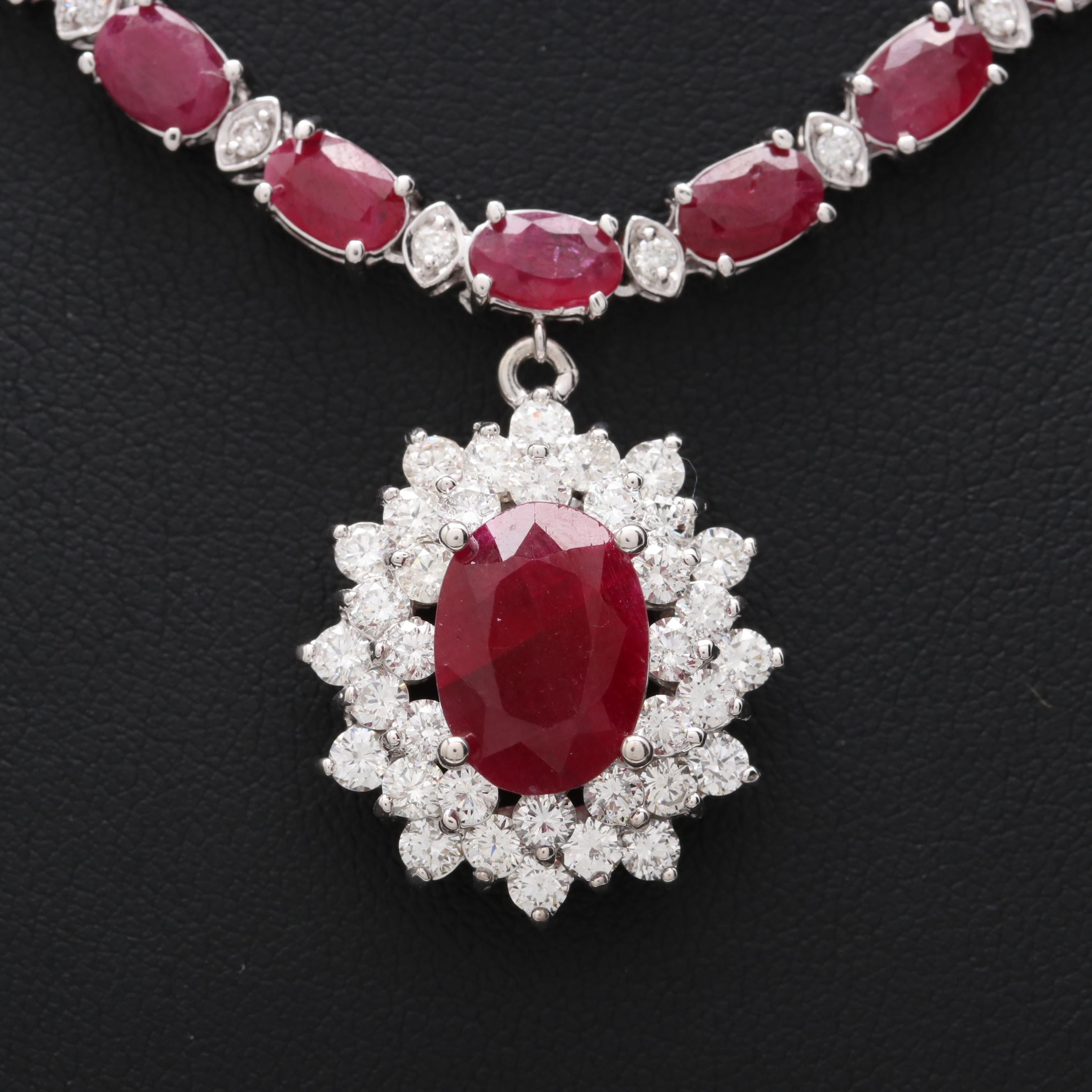 14K White Gold Ruby and 2.83 CTW Diamond Necklace with 1.87 CT Center Stone