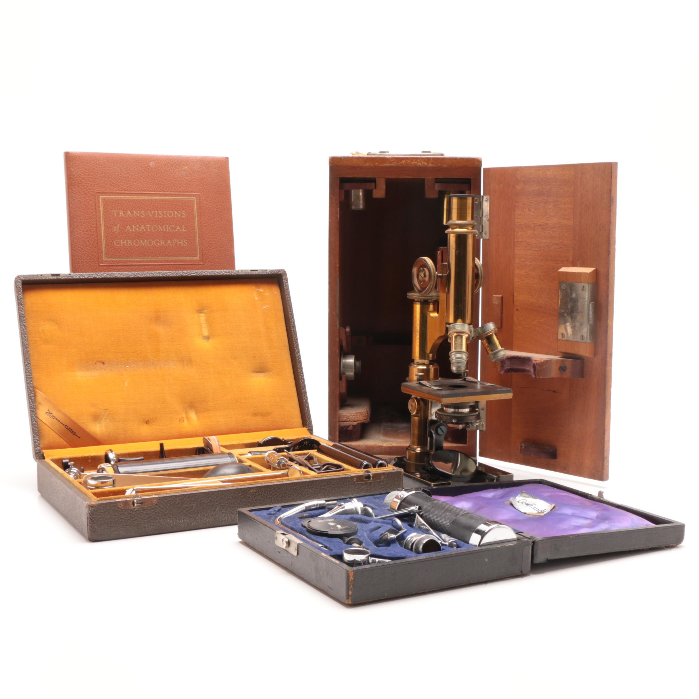 Antique E. Leitz Wetzlar Microscope and Vintage Medical Devices