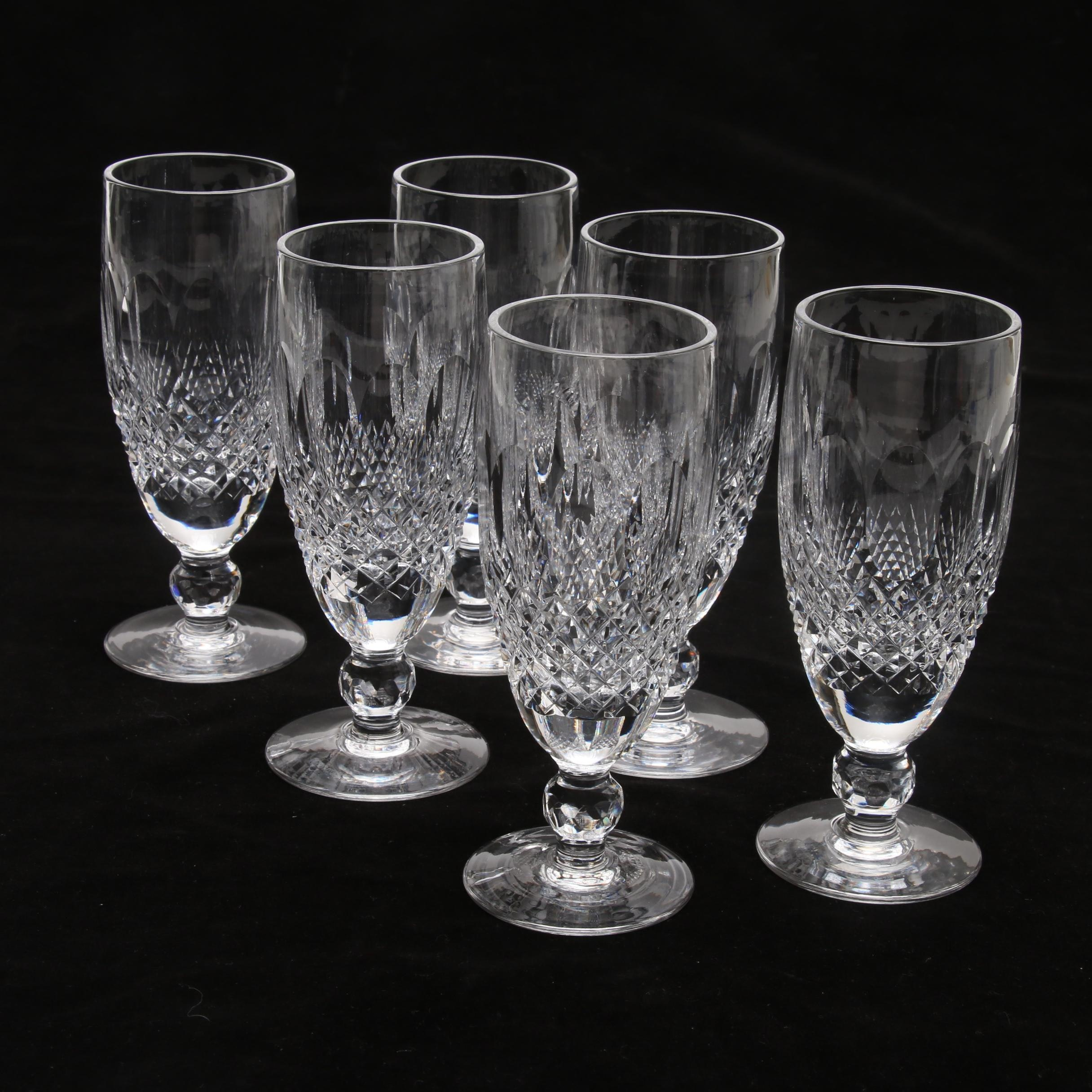"""Waterford Crystal """"Colleen"""" Short Stem Fluted Champagne Glasses"""