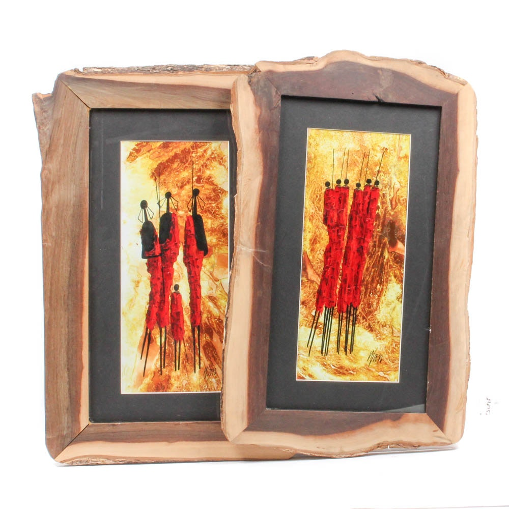 Two Wan Oil Paintings Depicting Maasai Style Imagery