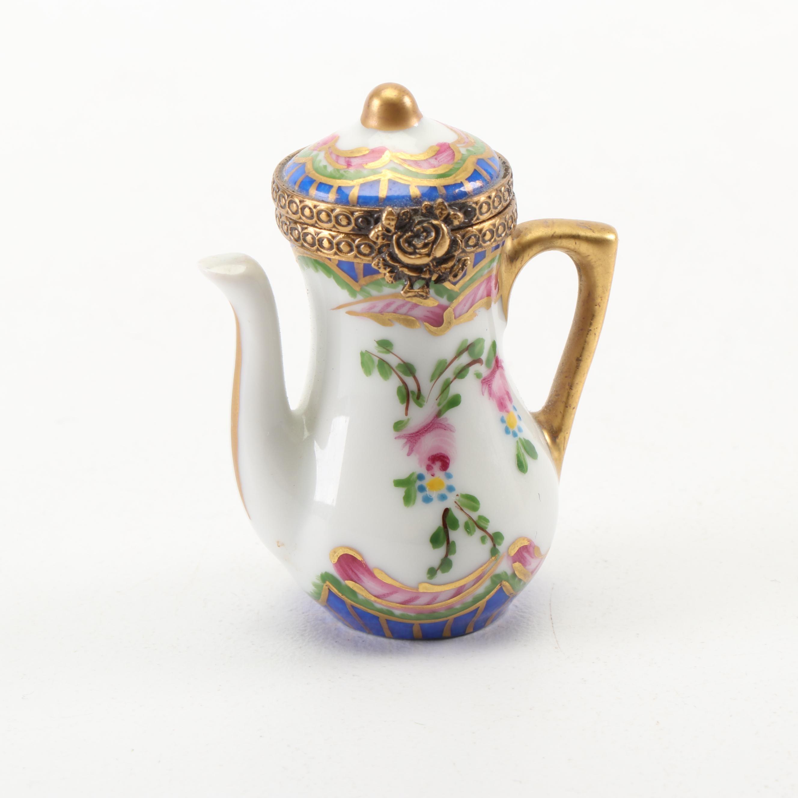 Limoges Hand-Painted Teapot Shaped Porcelain Trinket Box