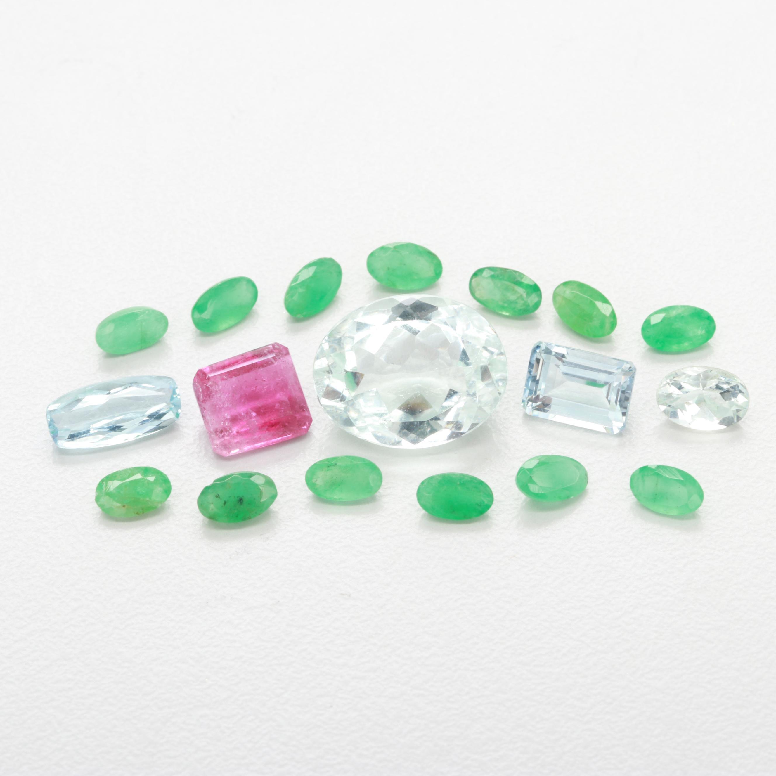 Loose 6.94 CTW Aquamarine, 2.91 CTW Emerald and 1.47 CT Tourmaline Gemstones