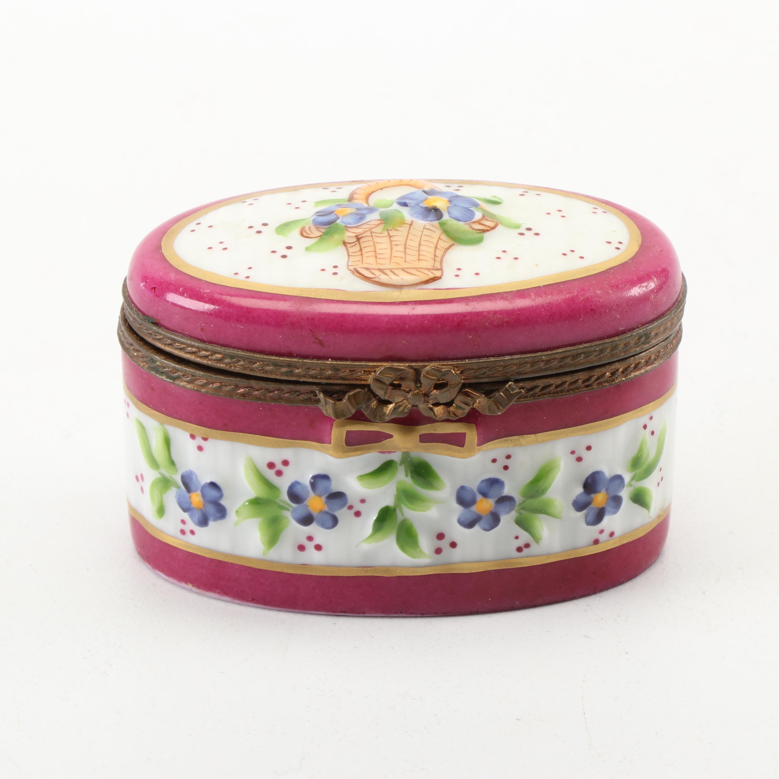 French Accents Limoges Flower Basket Porcelain Trinket Box