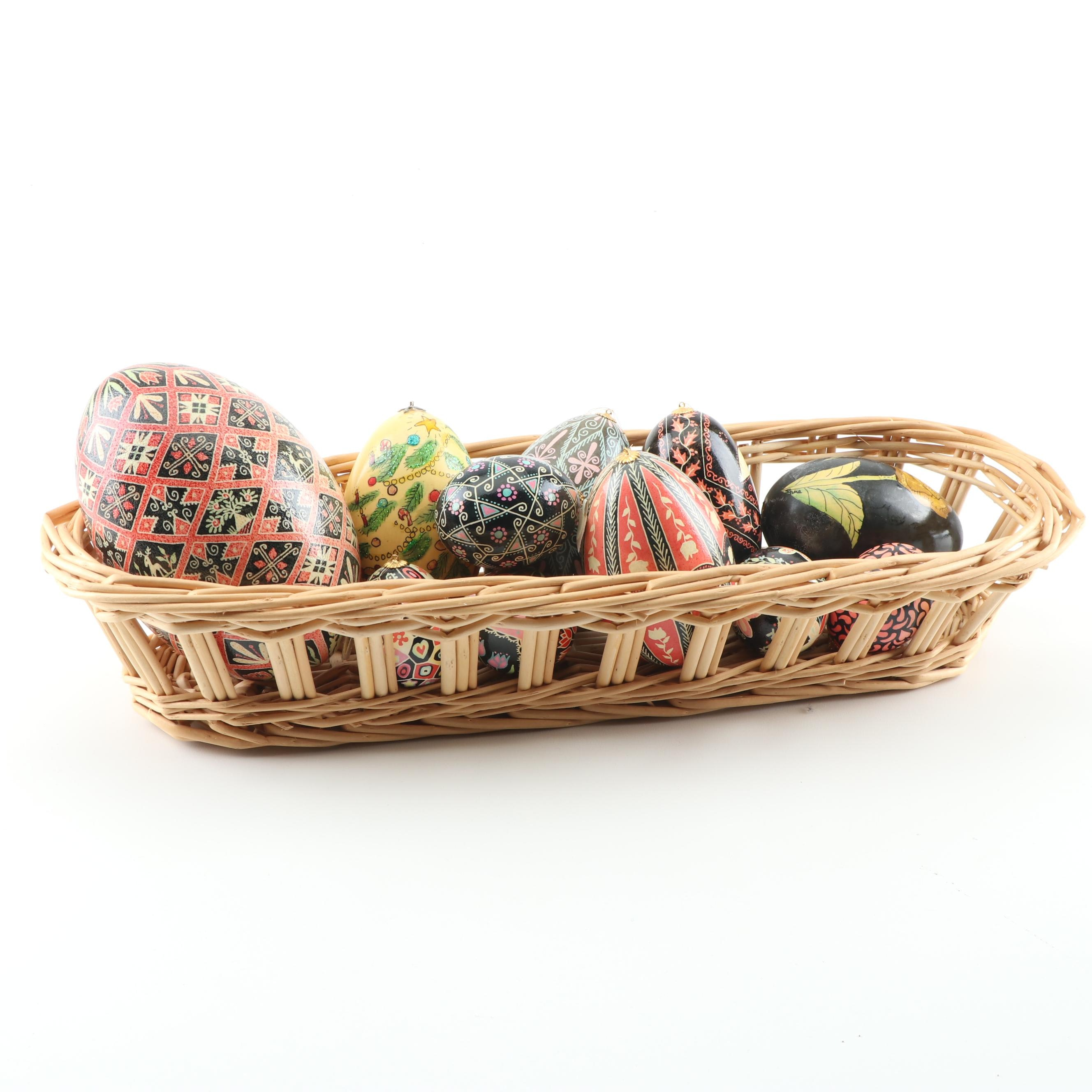 Hand-Painted Pysanka and Ukrainian Style Egg Ornaments and Basket
