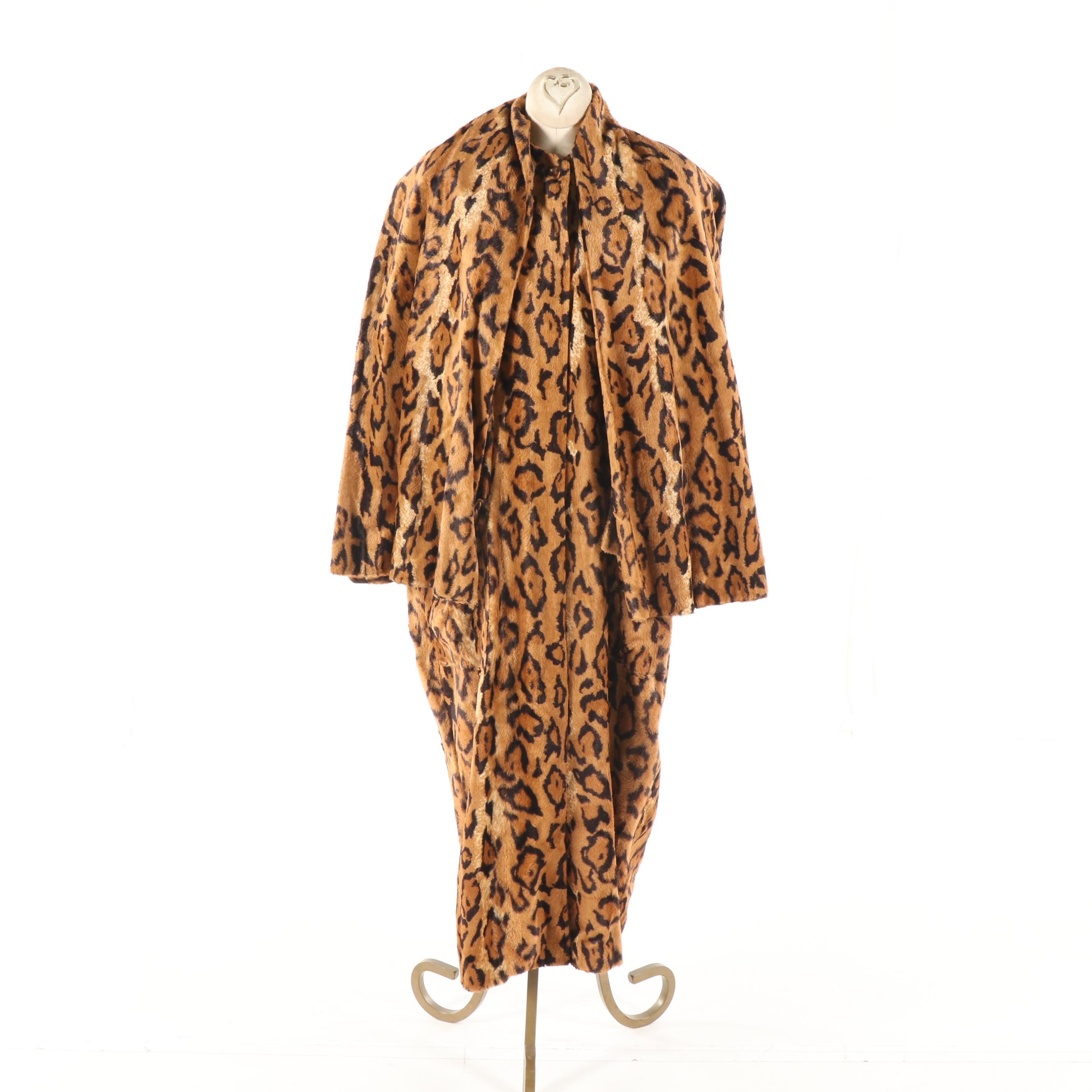 1980s Vintage Lillie Rubin Leopard Print Faux Fur Oversized Coat with Scarf
