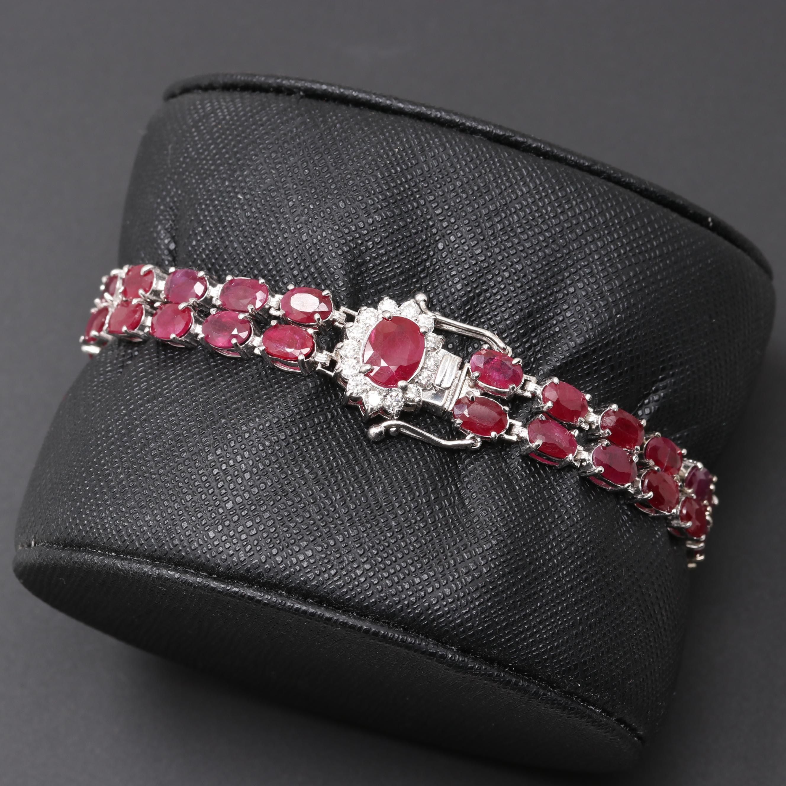 14K White Gold Ruby and Diamond Bracelet with 1.23 CT Center Stone