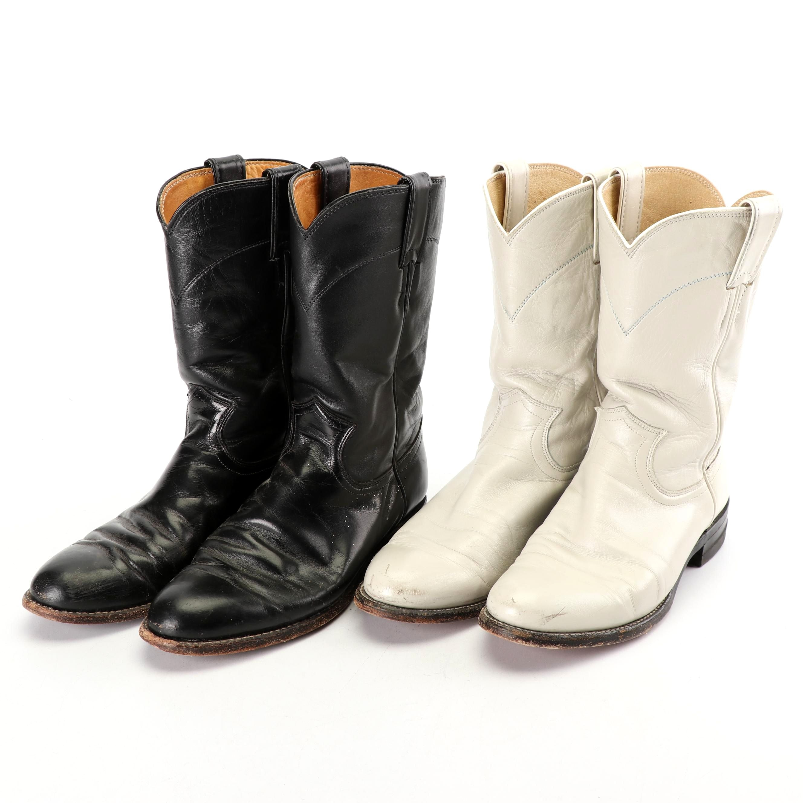 Women's Justin Western Boots in Black and Off-White Leather