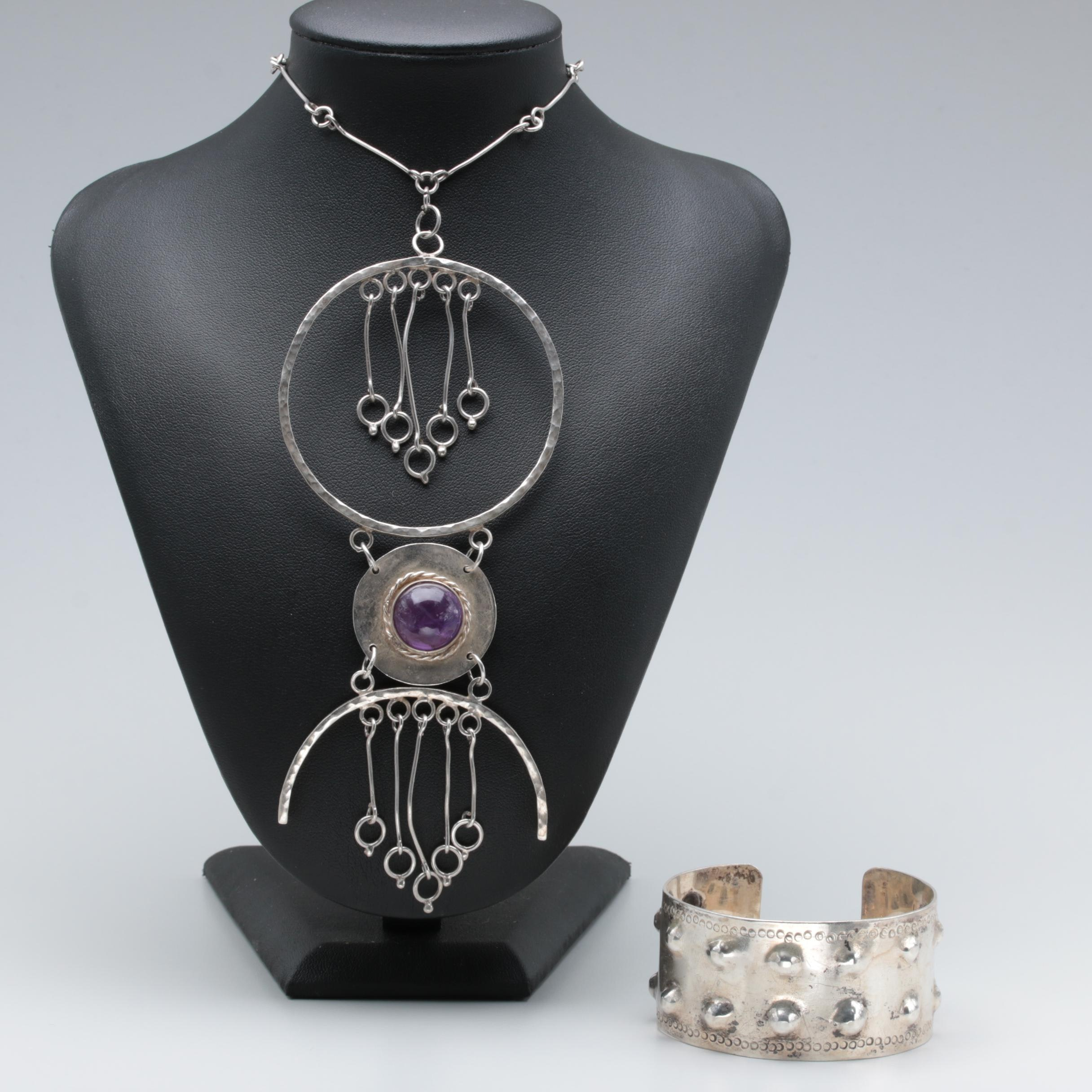Sterling Silver Bracelet and Mexican Amethyst Necklace