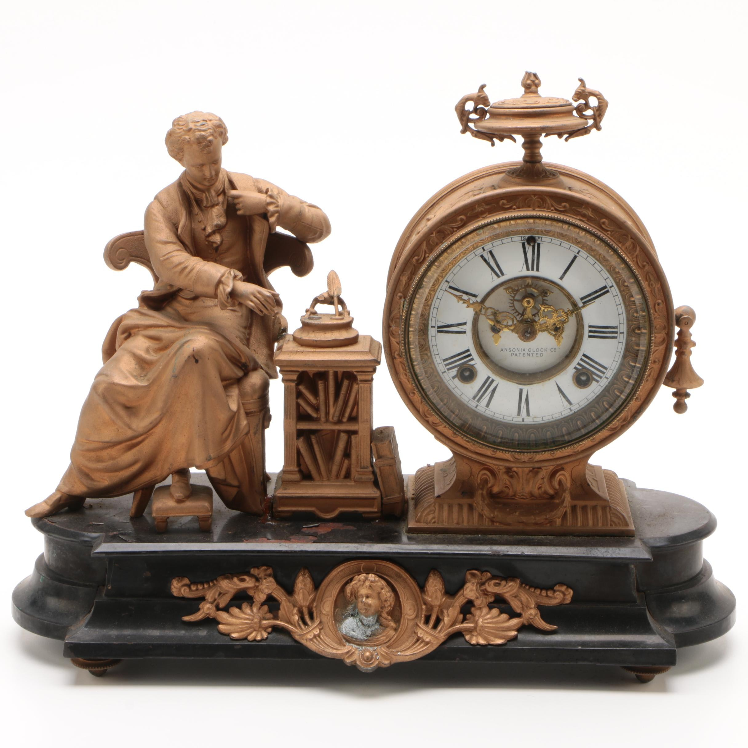 "Ansonia Clock Co. Figural Mantel Clock of ""Newton"", circa 1880"