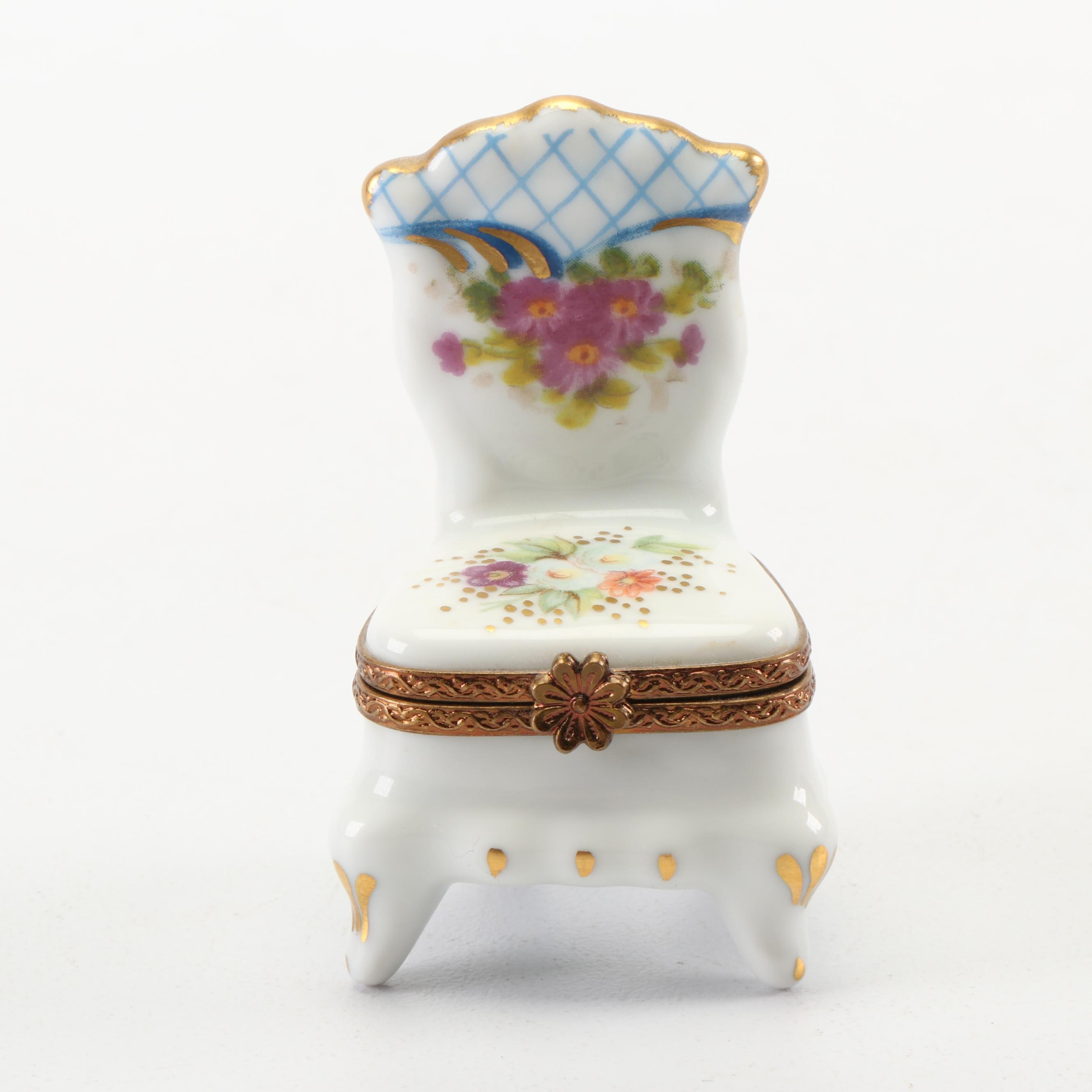 Limoges Hand-Painted Chair Shaped Porcelain Trinket Box