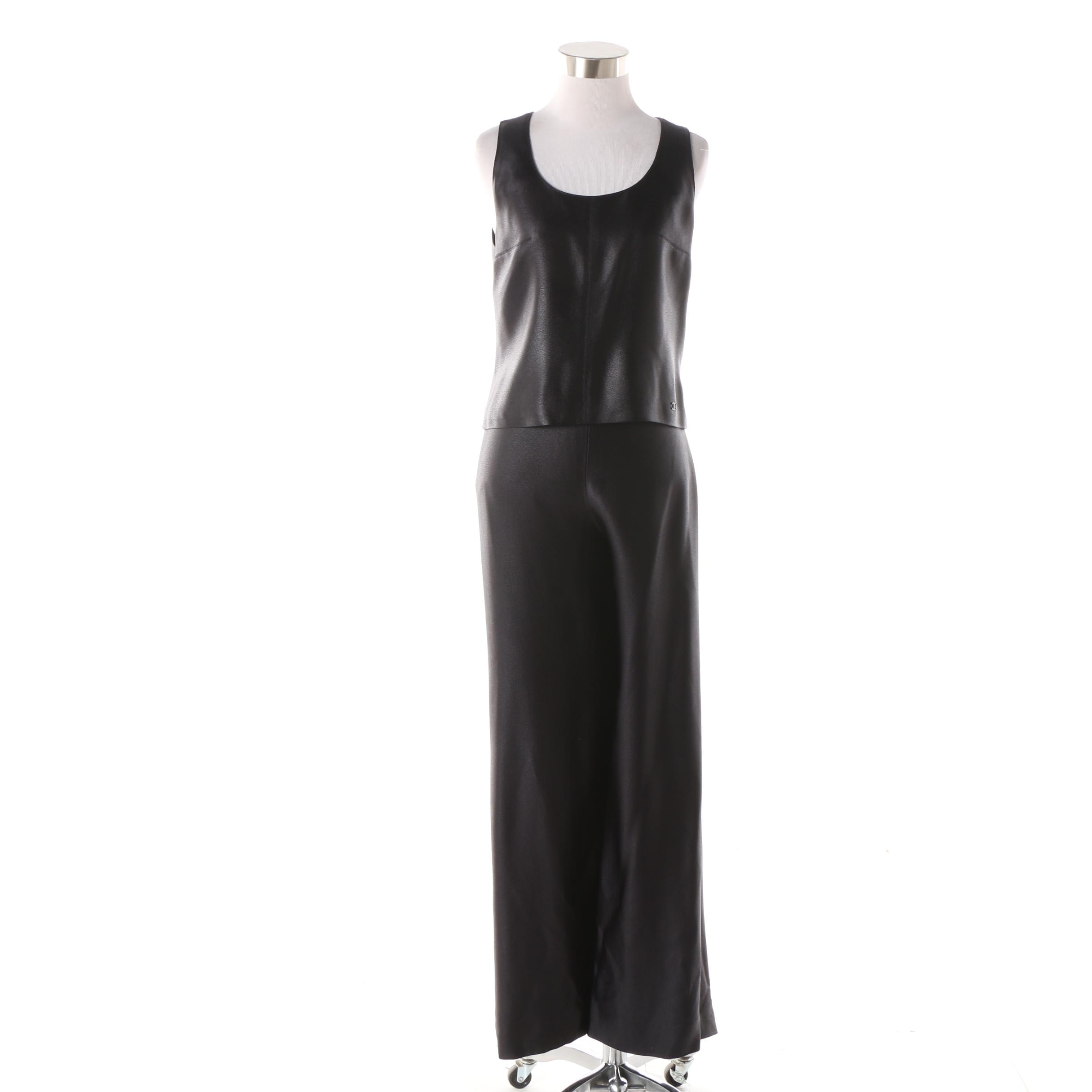 Chanel Sleeveless Black Top and Matching Wide-Legged Pants