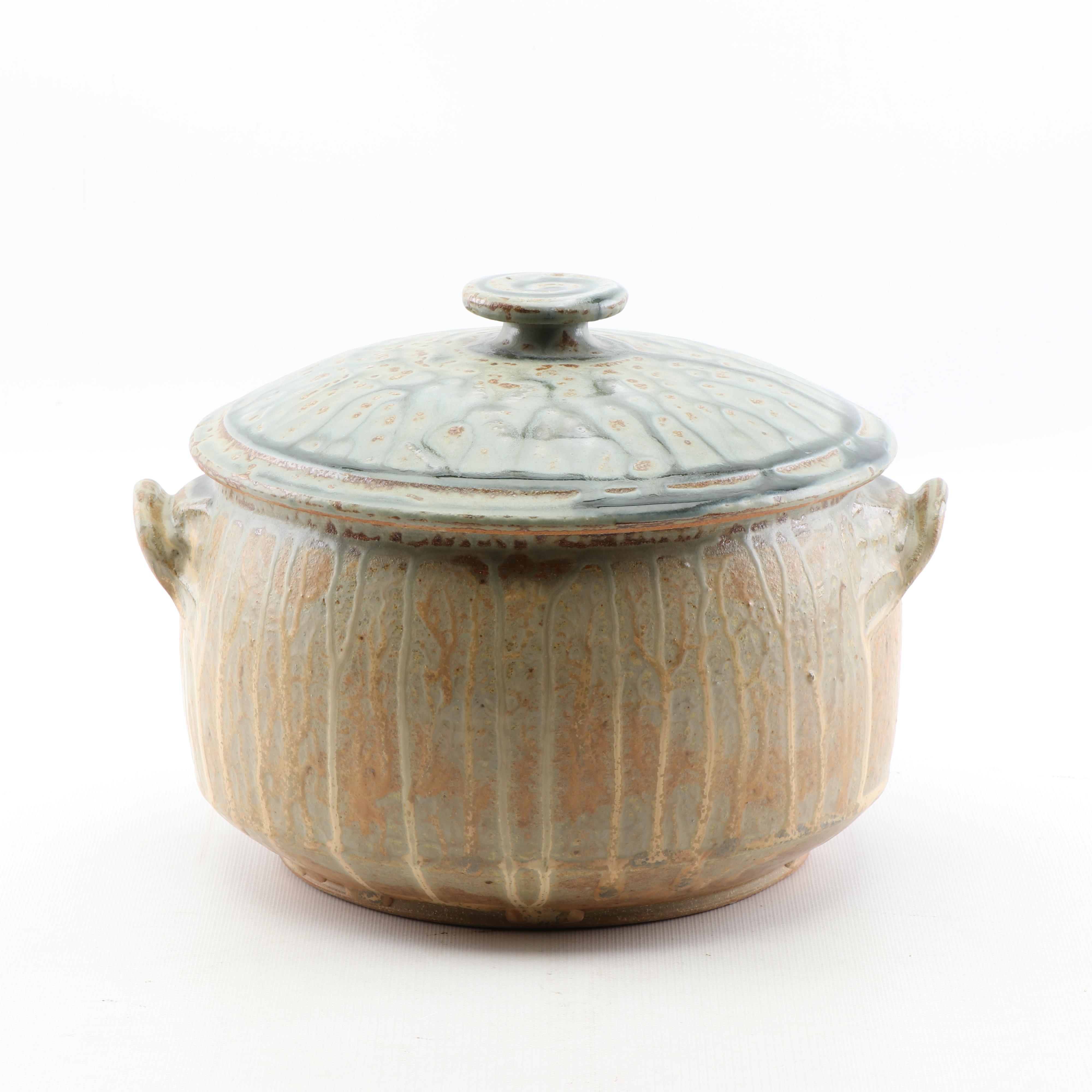 Wheel Thrown Stoneware Lidded Casserole Attributed to Tom Homann