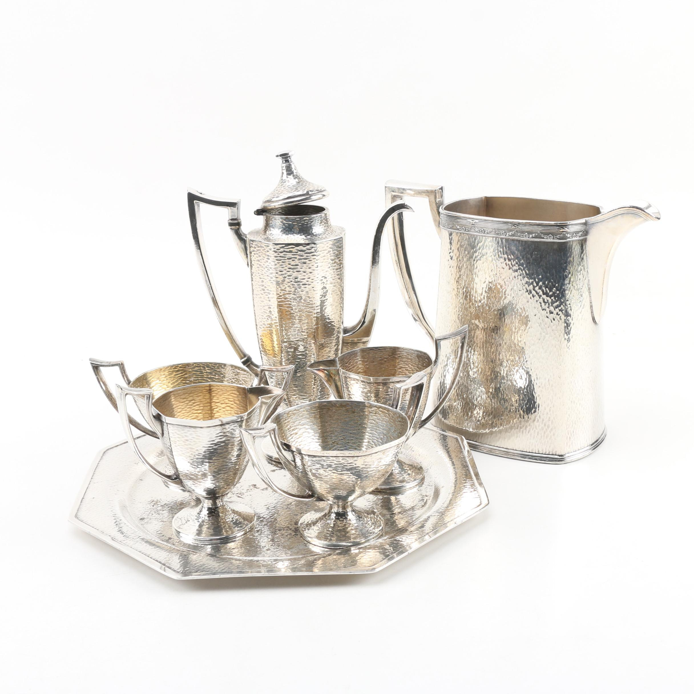 Homan Silver Plate on Nickel and Hammered Tea Set with Tray, c.1930s