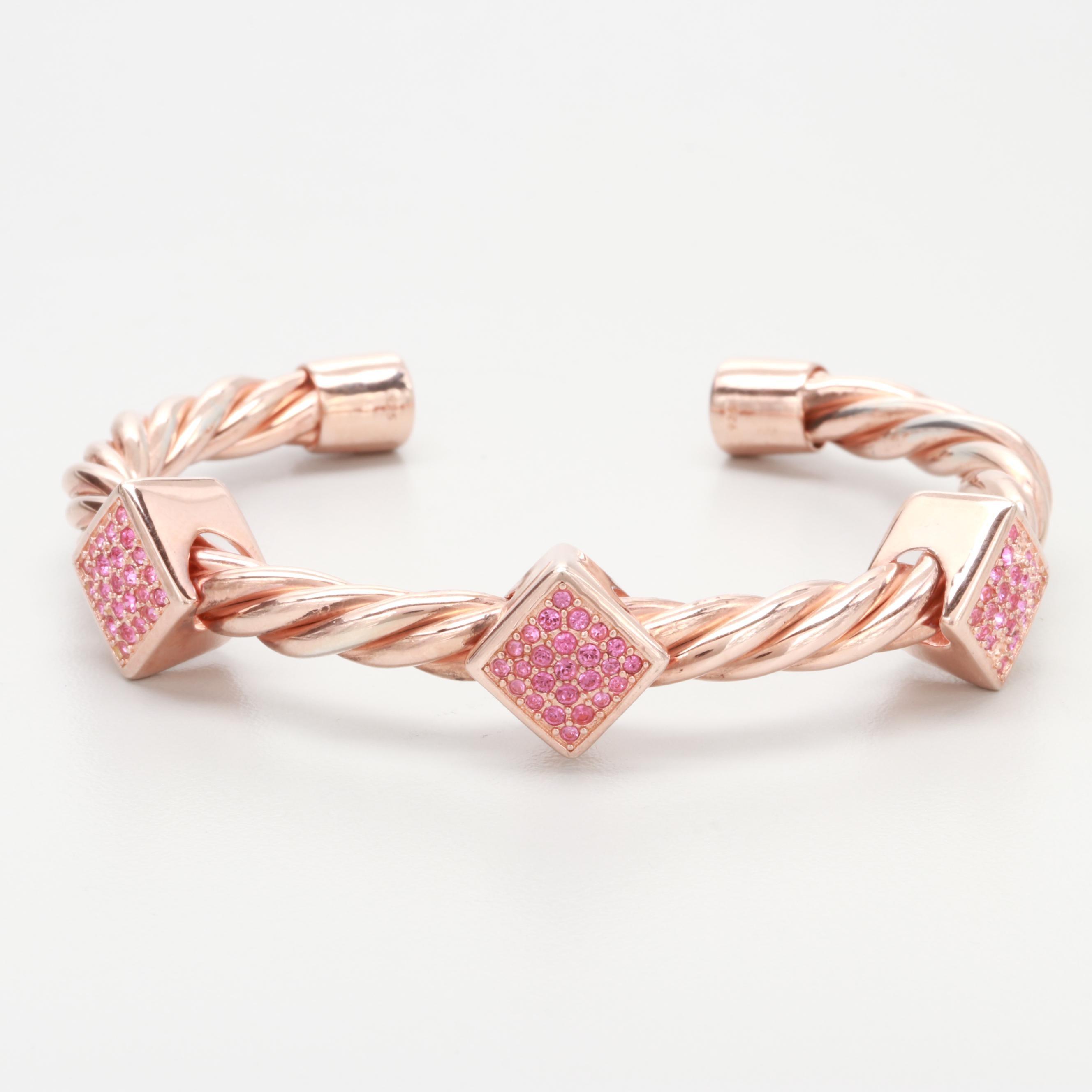 Rose Gold Wash on Sterling Silver Glass Cuff Bracelet