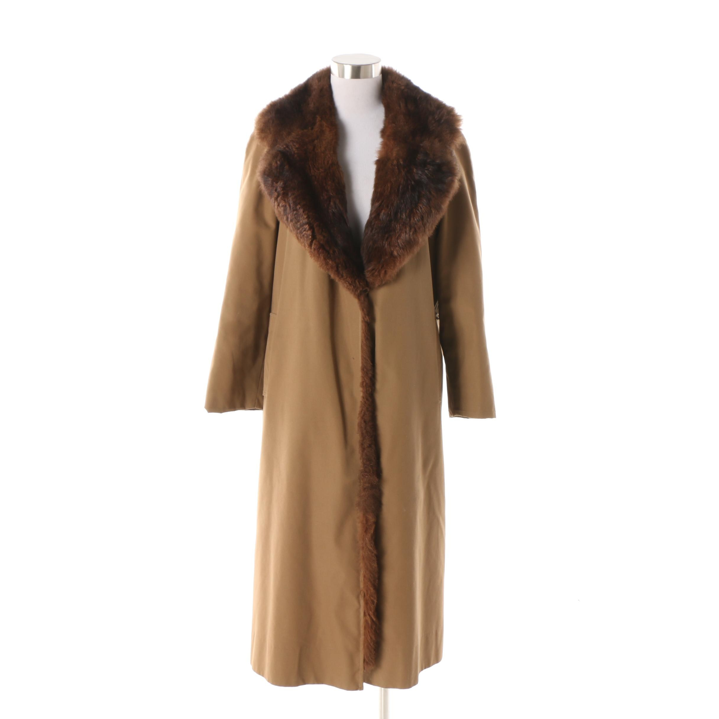 I. Magnin Canvas Coat with Dyed Muskrat Fur Collar and Lining