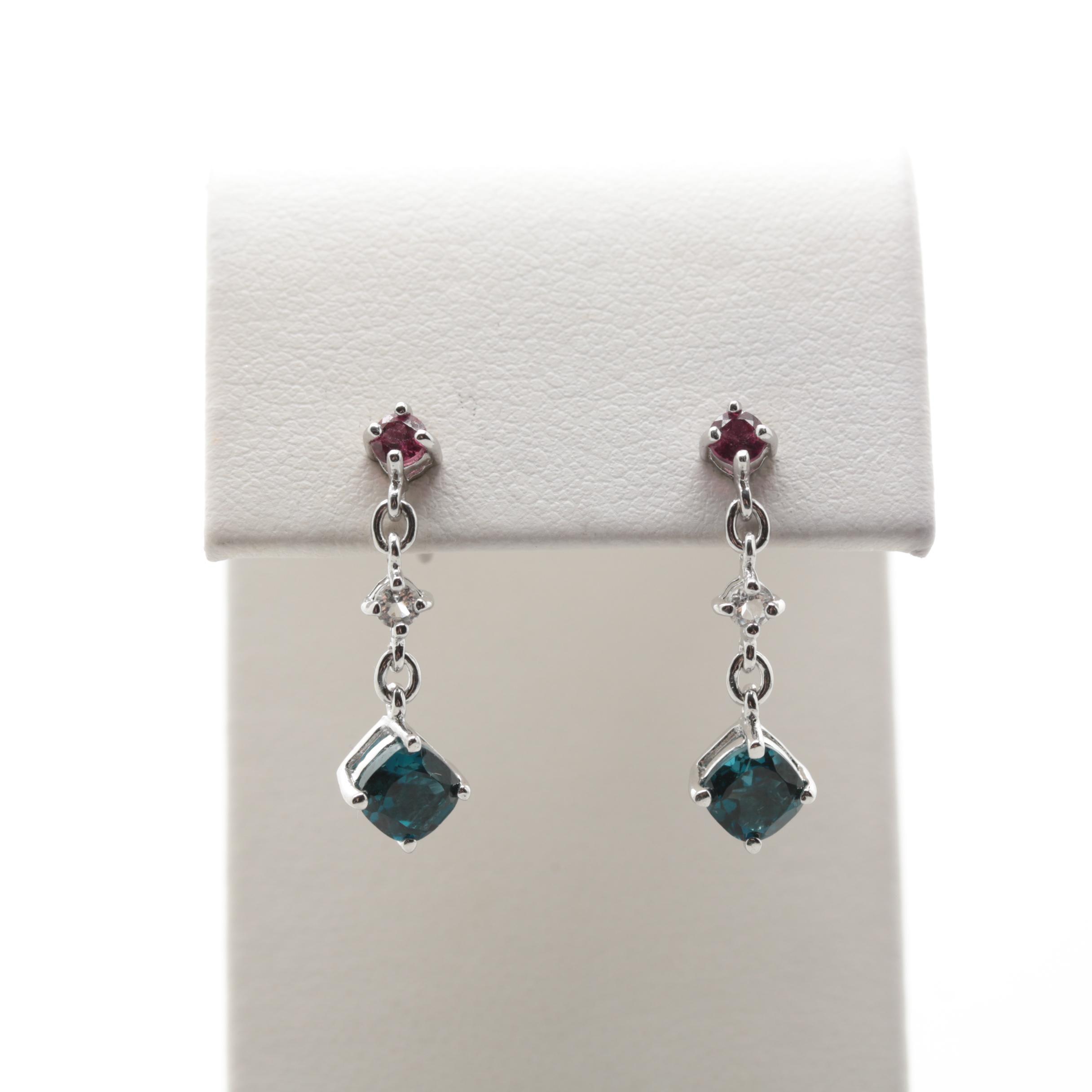 Sterling Silver Rhodolite Garnet and Topaz Drop Earrings