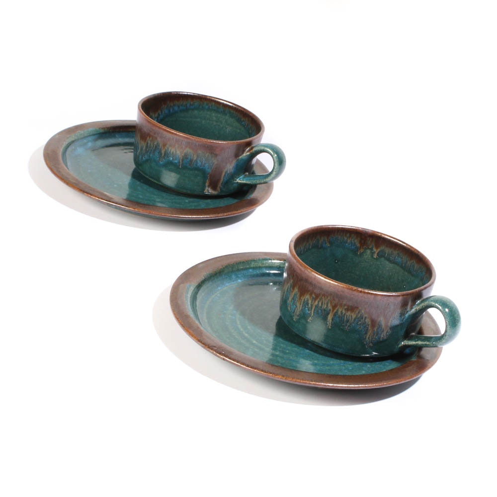 Douglas Ferguson for Pigeon Forge Pottery Oversized Cups and Saucers