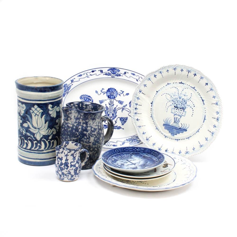Blue on White Pottery Including Villeroy & Boch, Georg Jensen