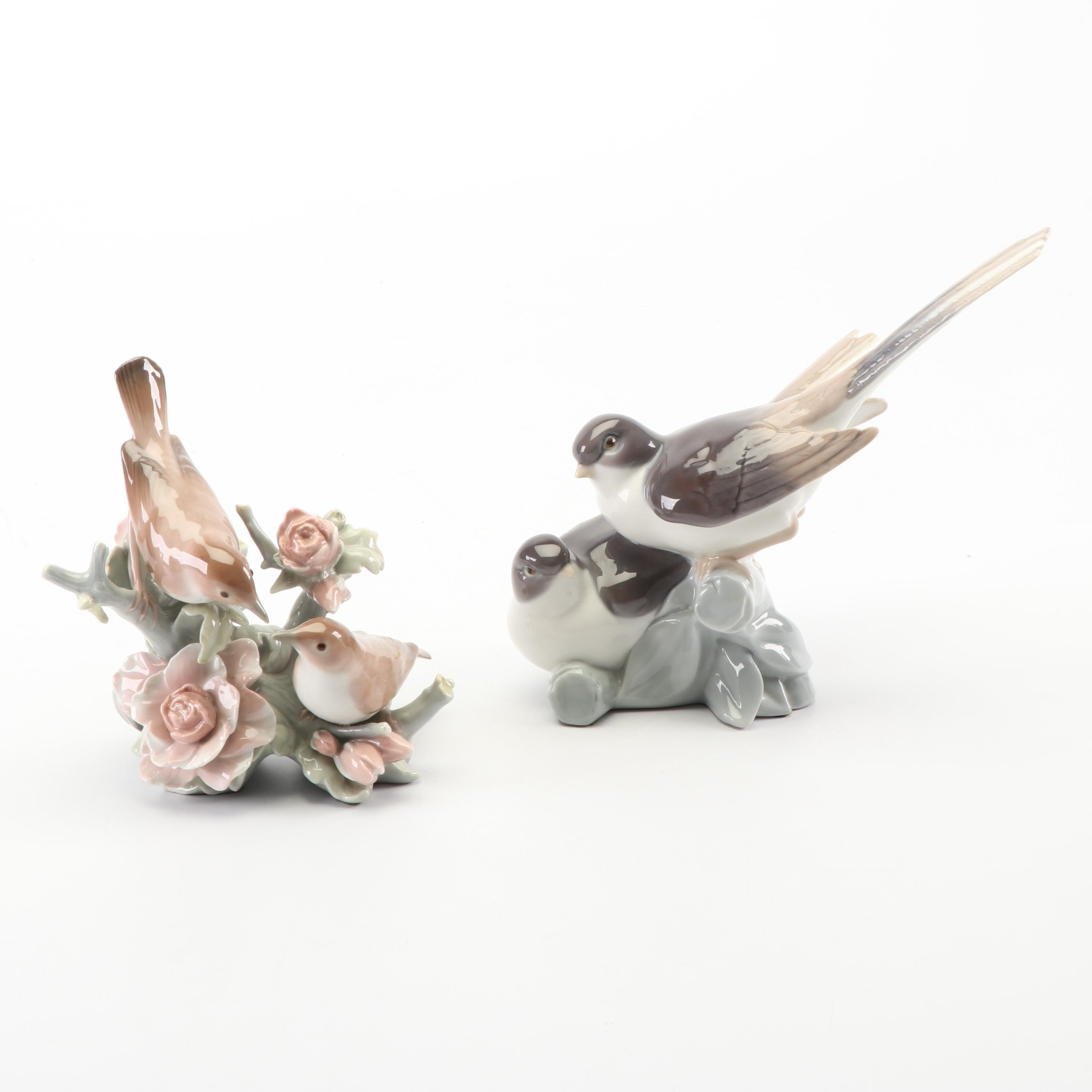 """Lladró """"Couple of Nightingales"""" and """"Birds"""" Porcelain Figurines"""