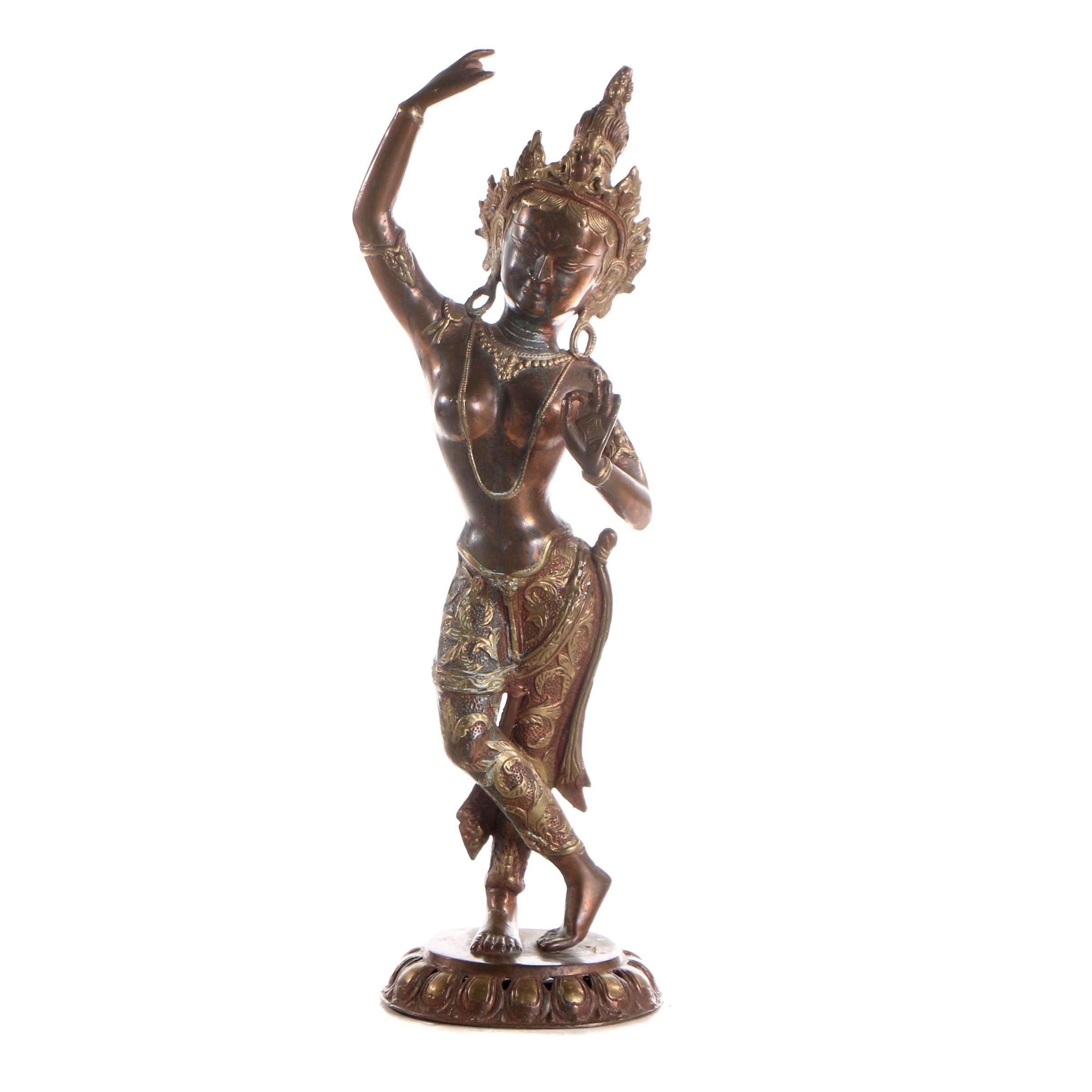 Tibetan Maya Devi Brass Sculpture