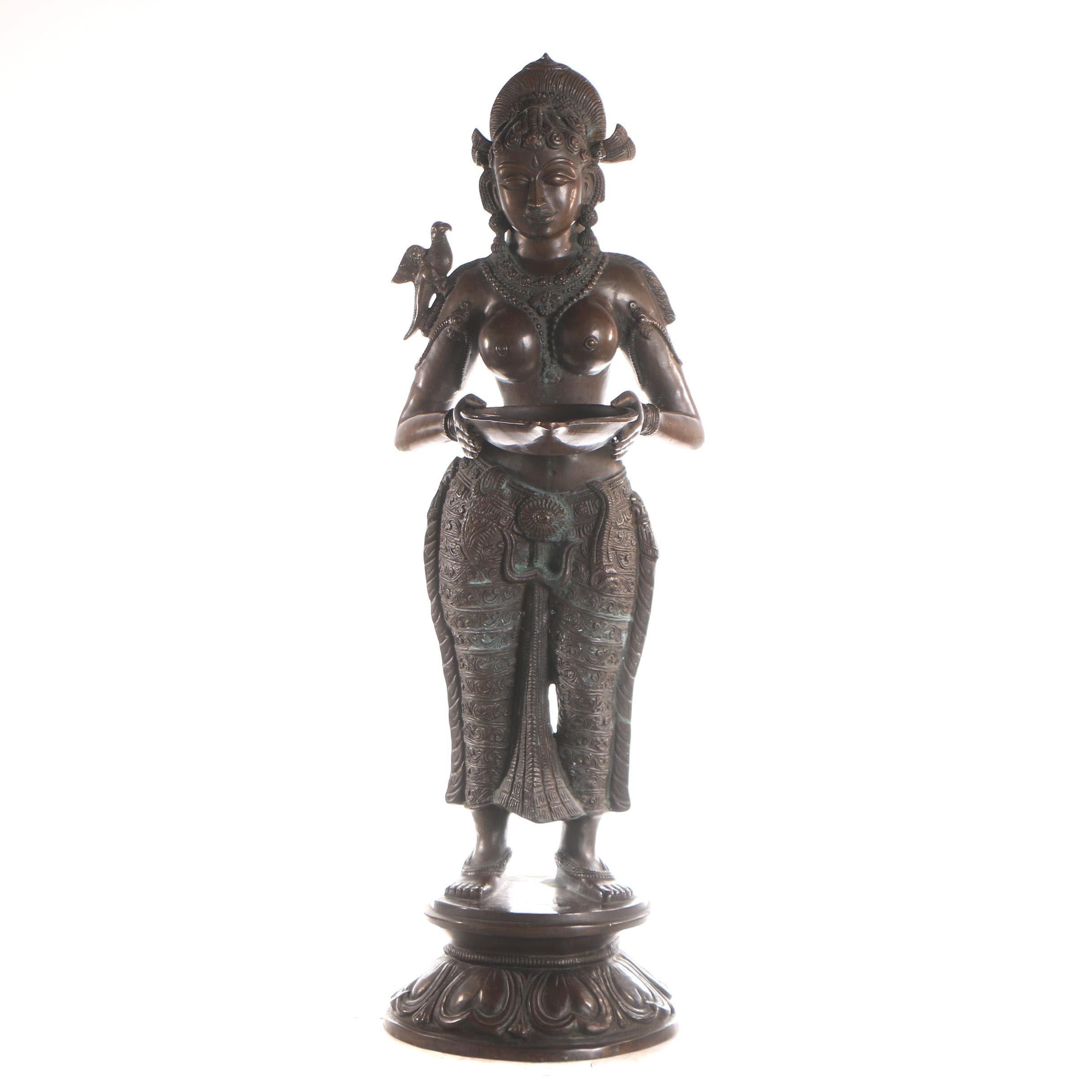 Indian Deepa Lakshmi Brass Oil Lamp Sculpture