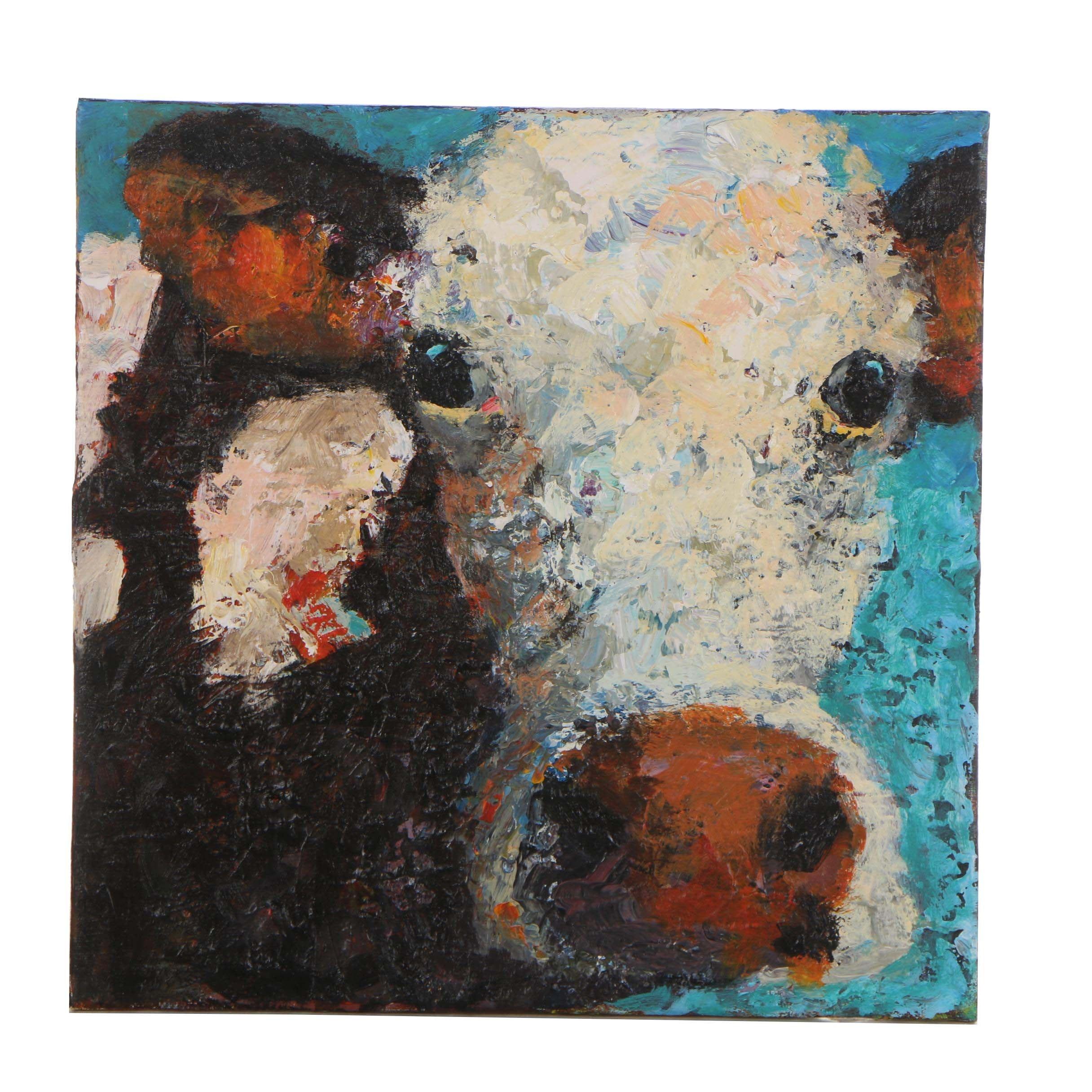Elle Raines Cow Acrylic Painting