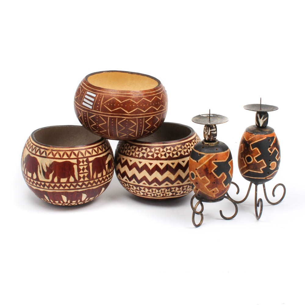 Kenyan Handicrafts Including Gourd Bowls and Candlesticks