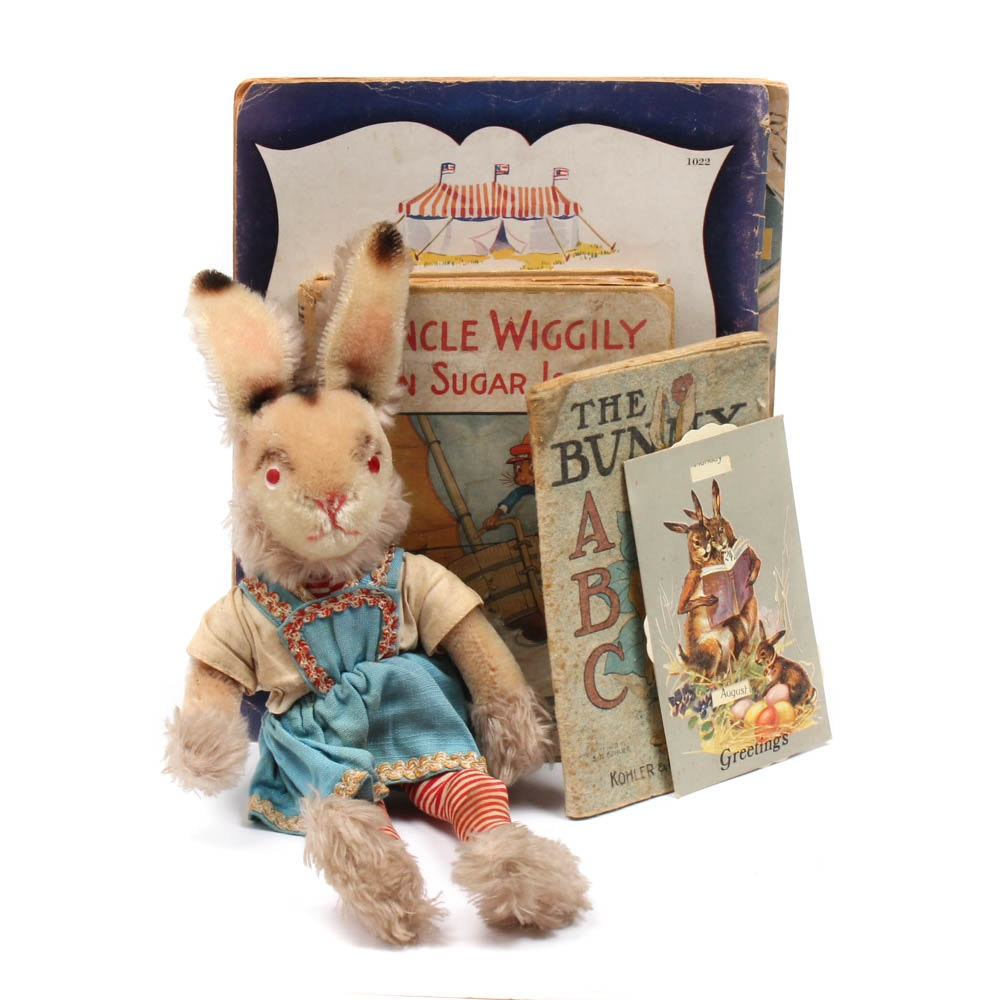 Vintage Mohair Stuffed Rabbit and Rabbit Themed Children's Books