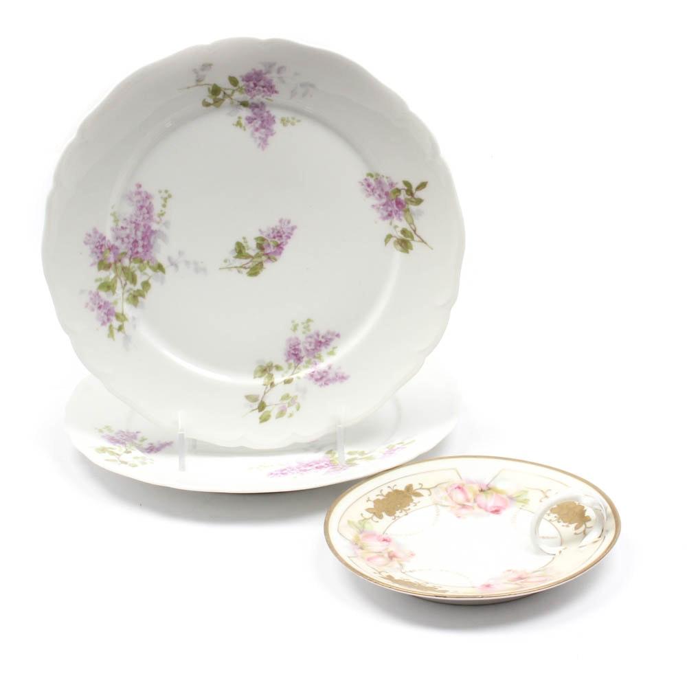 Floral Motif Porcelain Tableware Including Limoges and Prov Saxe
