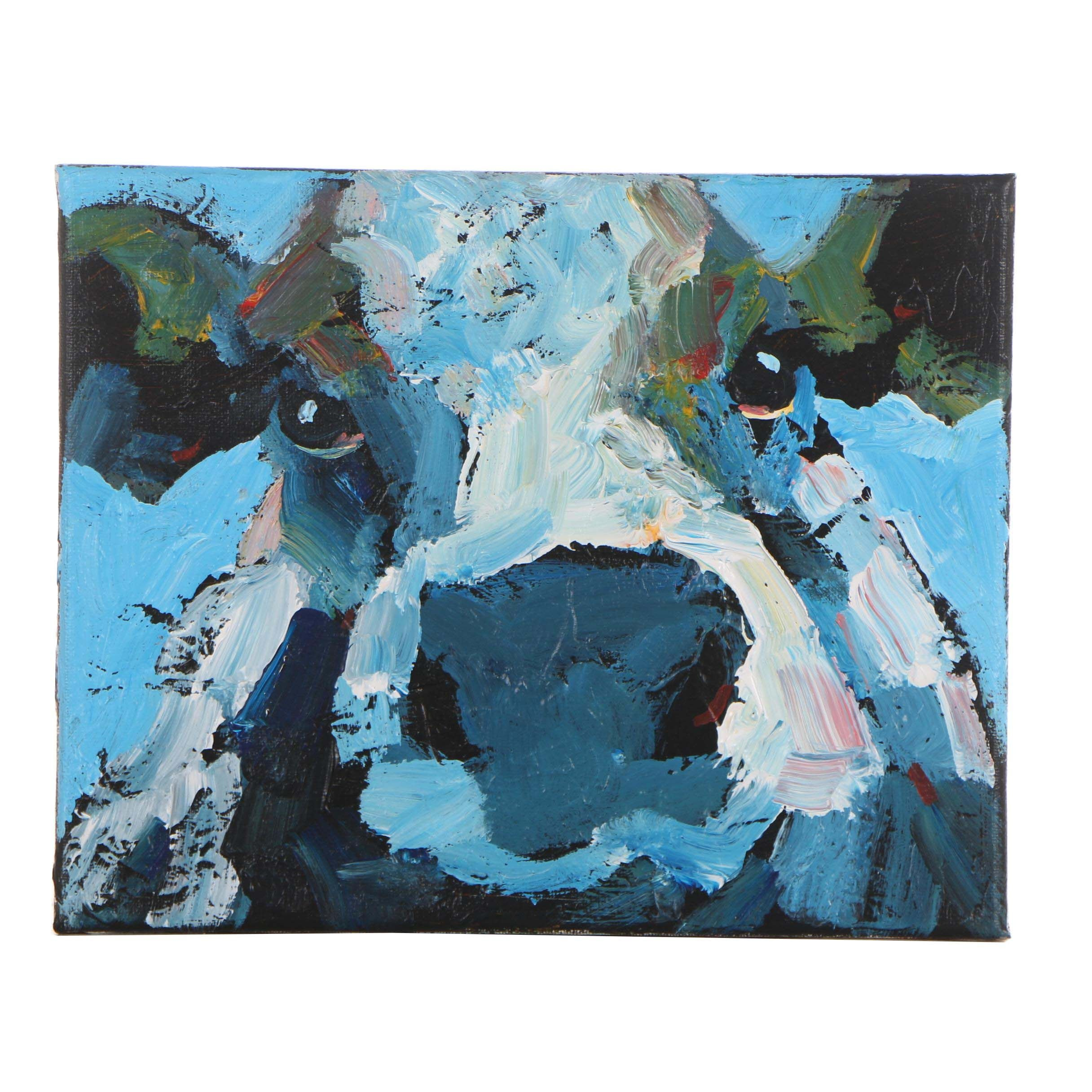 Elle Raines Blue Cow Acrylic Painting