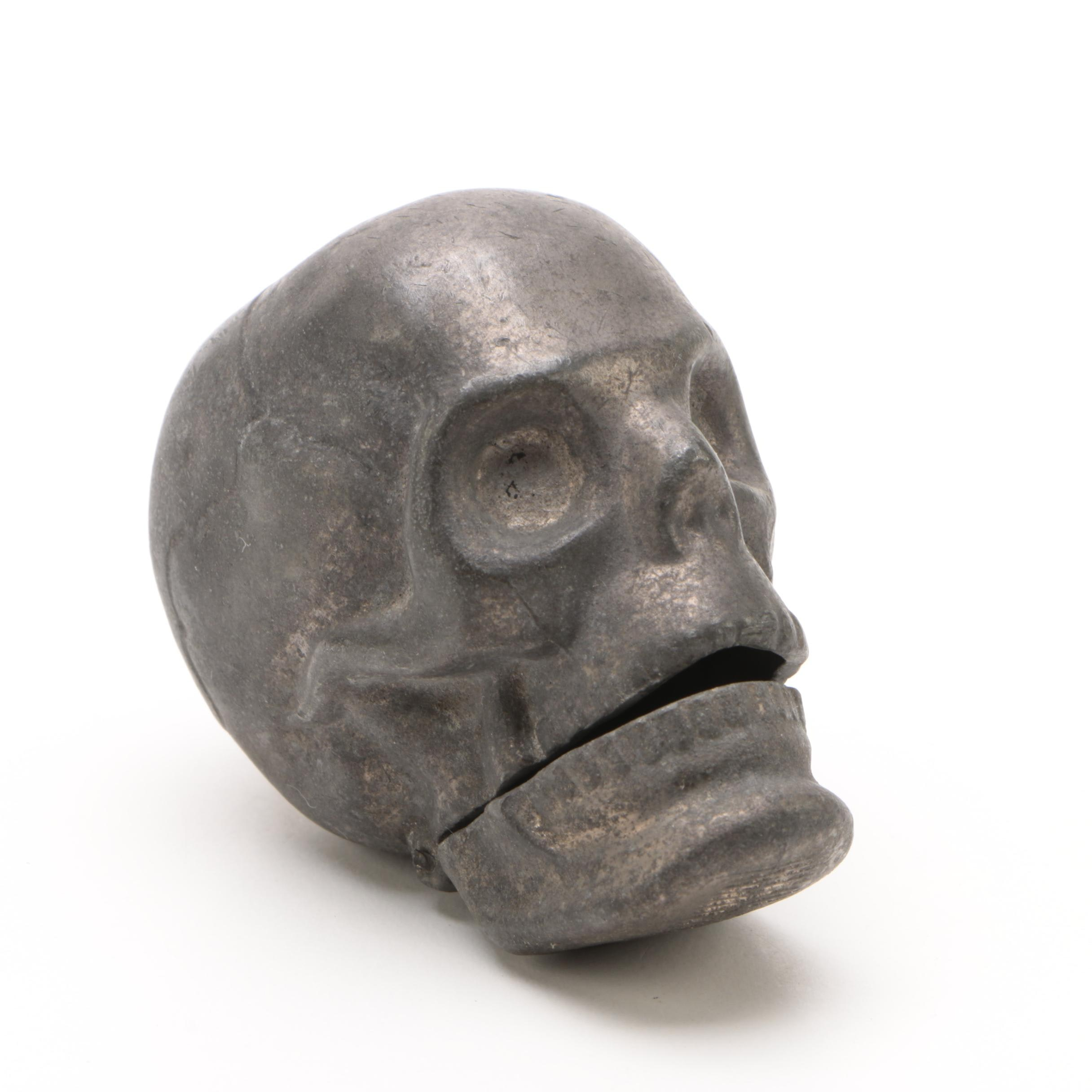 English Metal Skull Vesta, Early 20th Century/ 1900s