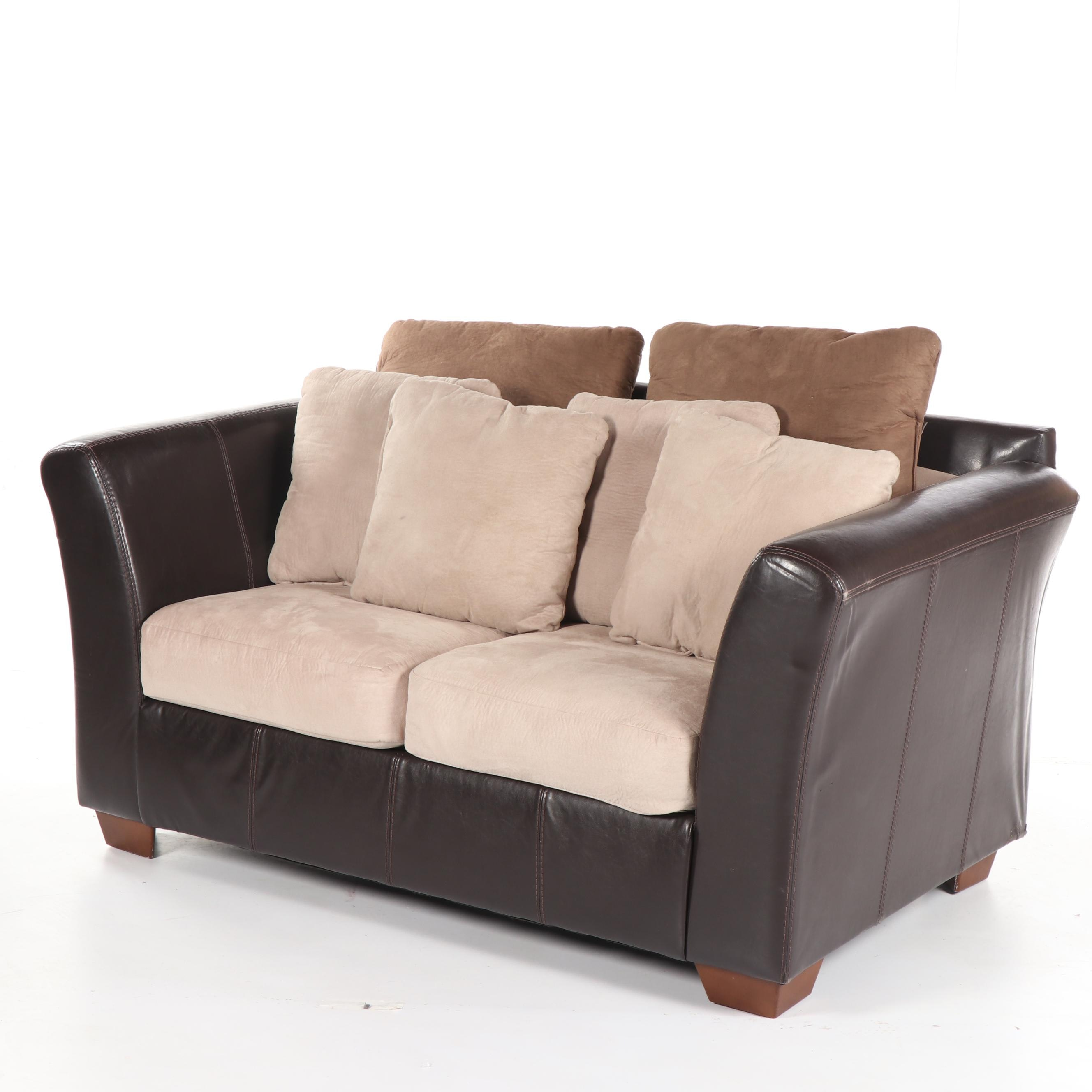 Faux Leather and Suede Loveseat, 21st Century