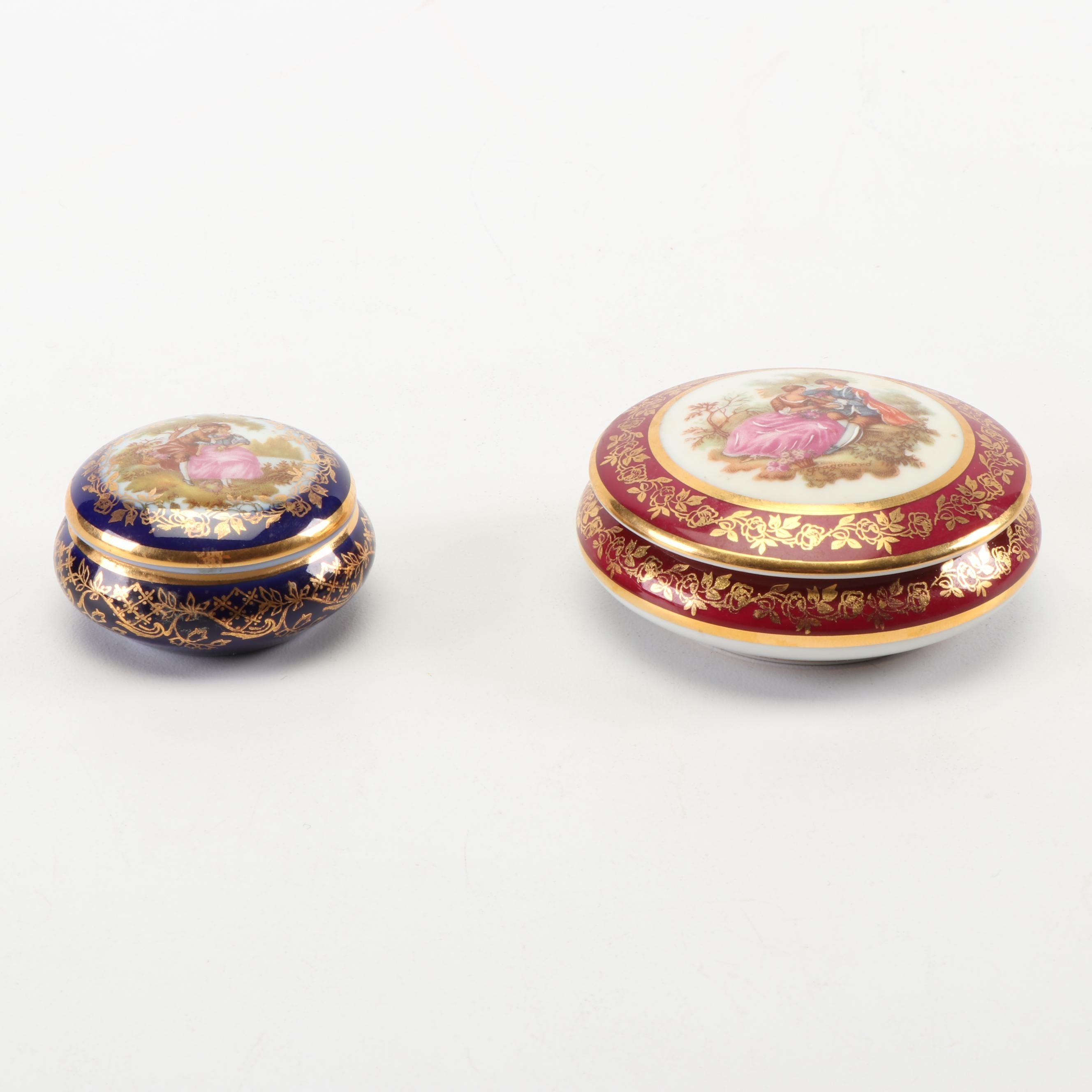 Limoges Porcelain Trinket Boxes including Prevot