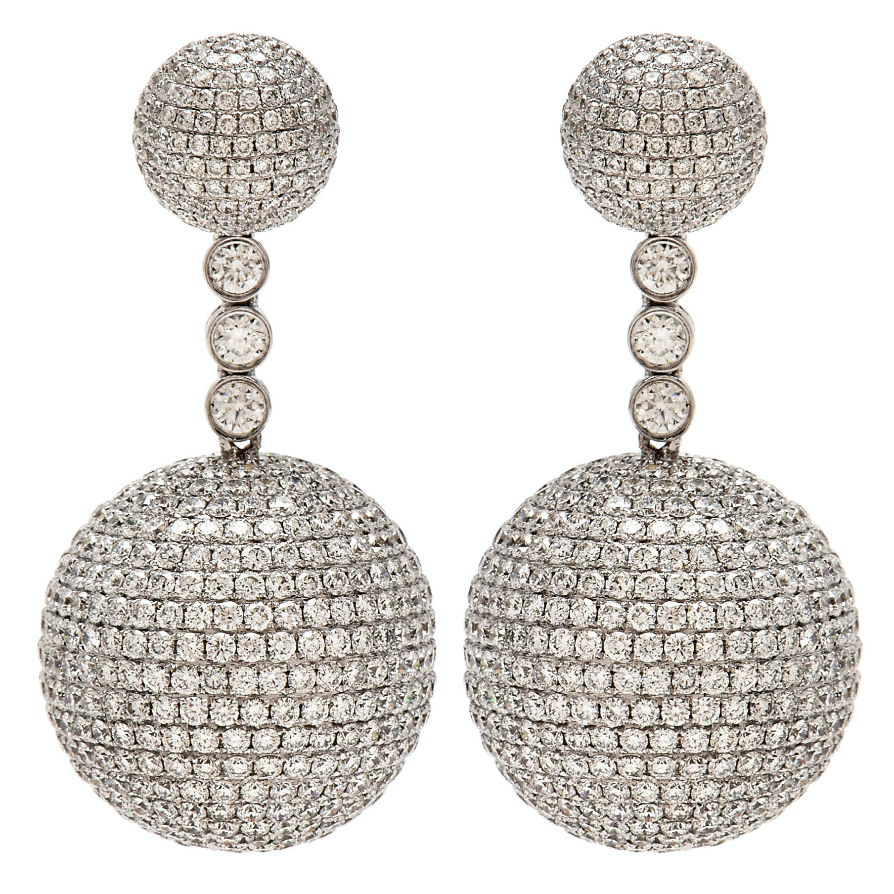 18K White Gold 26.00 CTW Diamond Pavé Ball Dangle Earrings