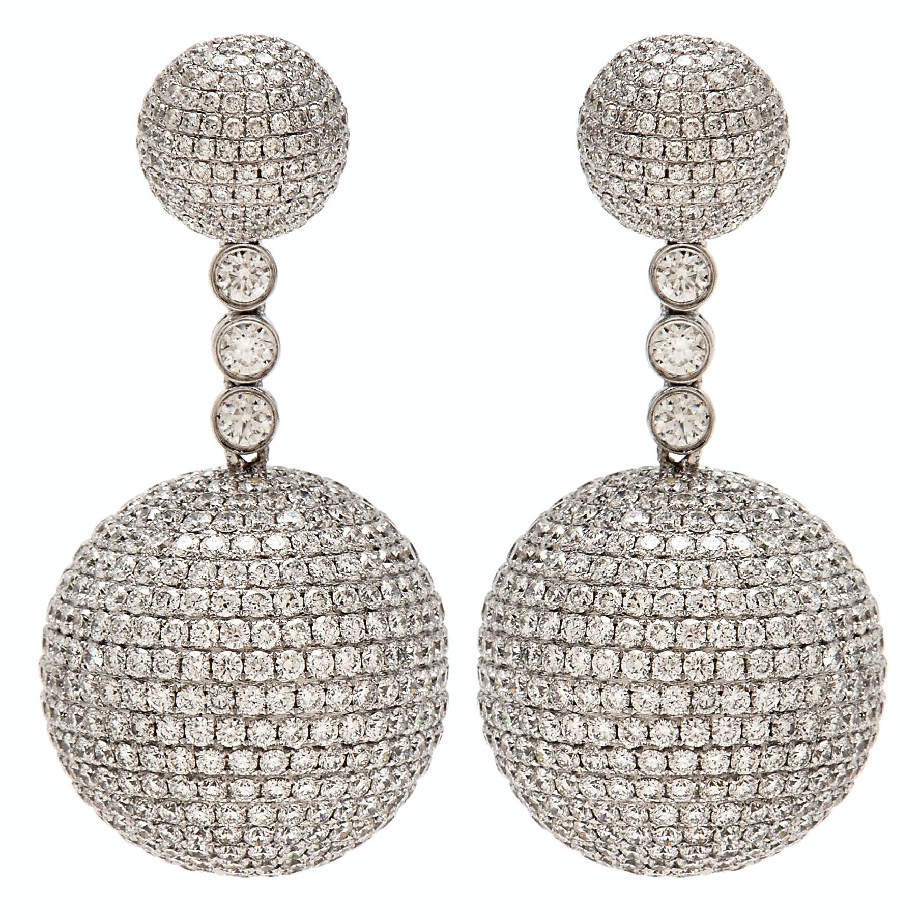 18K White Gold 26.00 CTW Diamond Pavé Ball Dangle Earrings
