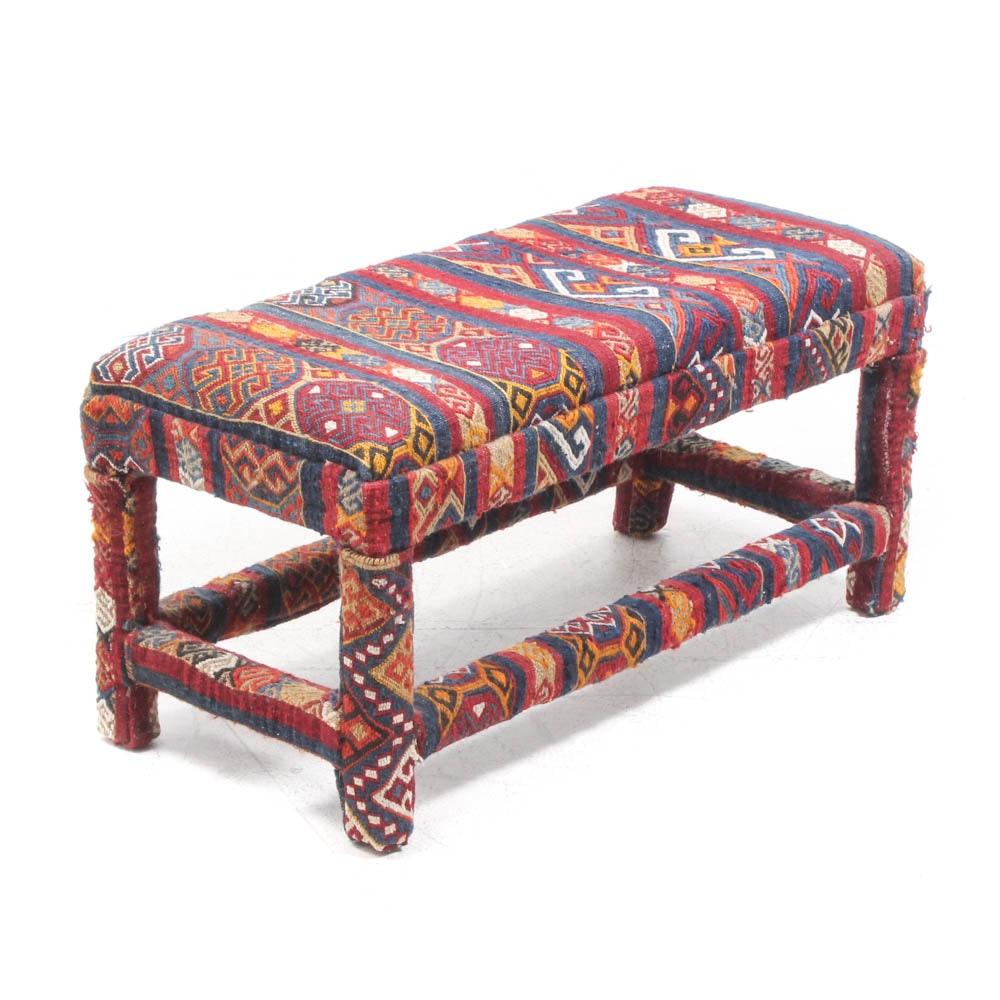 Handwoven Soumak Upholstered Bench, 21st Century