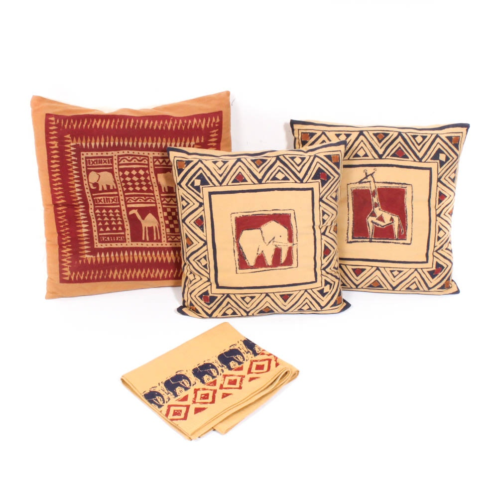 Kenyan Batik Throw Pillows and Table Runner