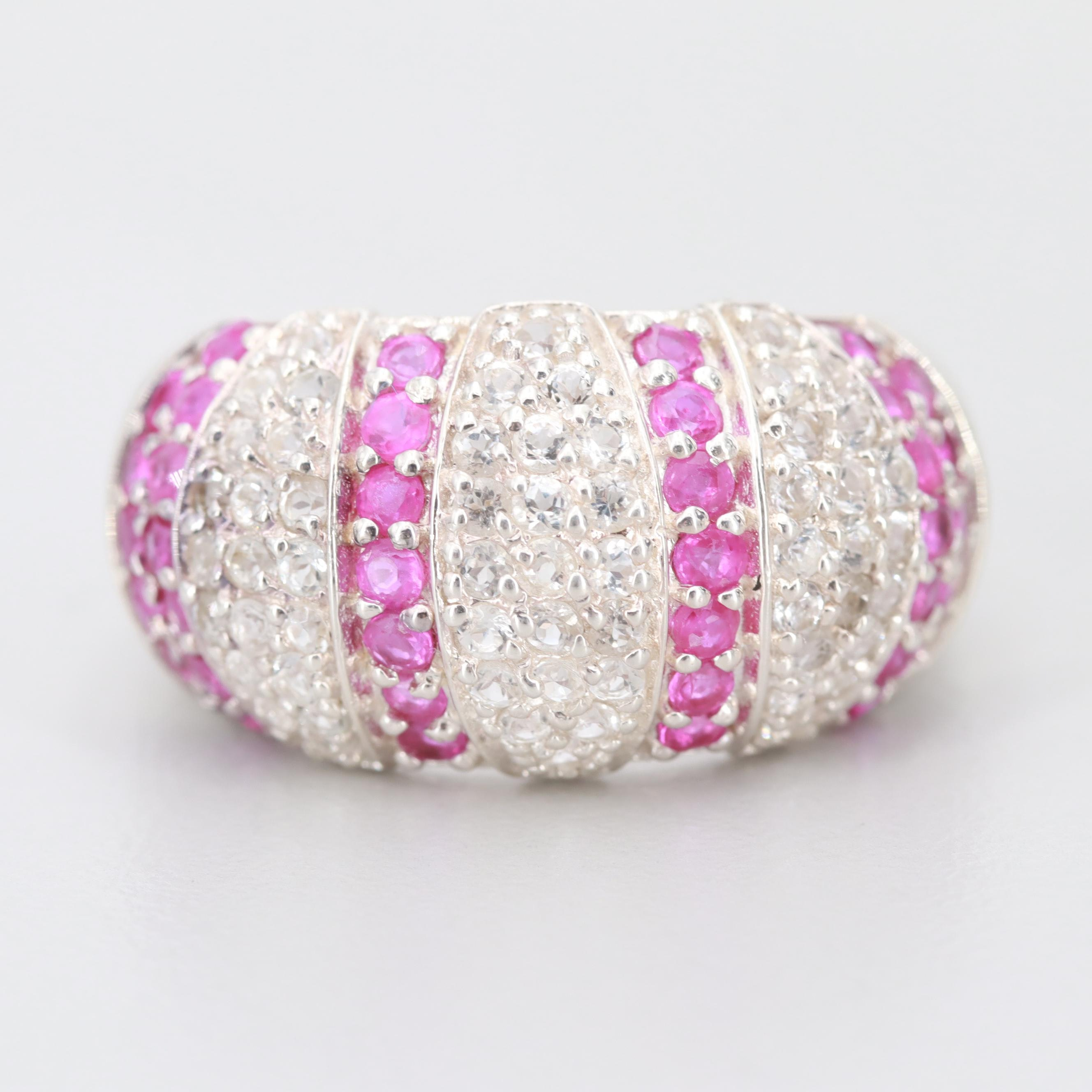 Sterling Silver Ruby and White Sapphire Ring