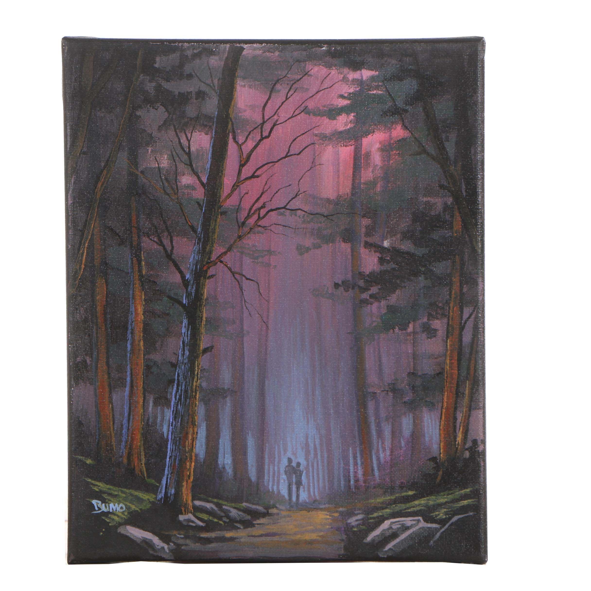 """Douglas Bumo Johnpeer Oil Painting """"Misty Walk"""""""
