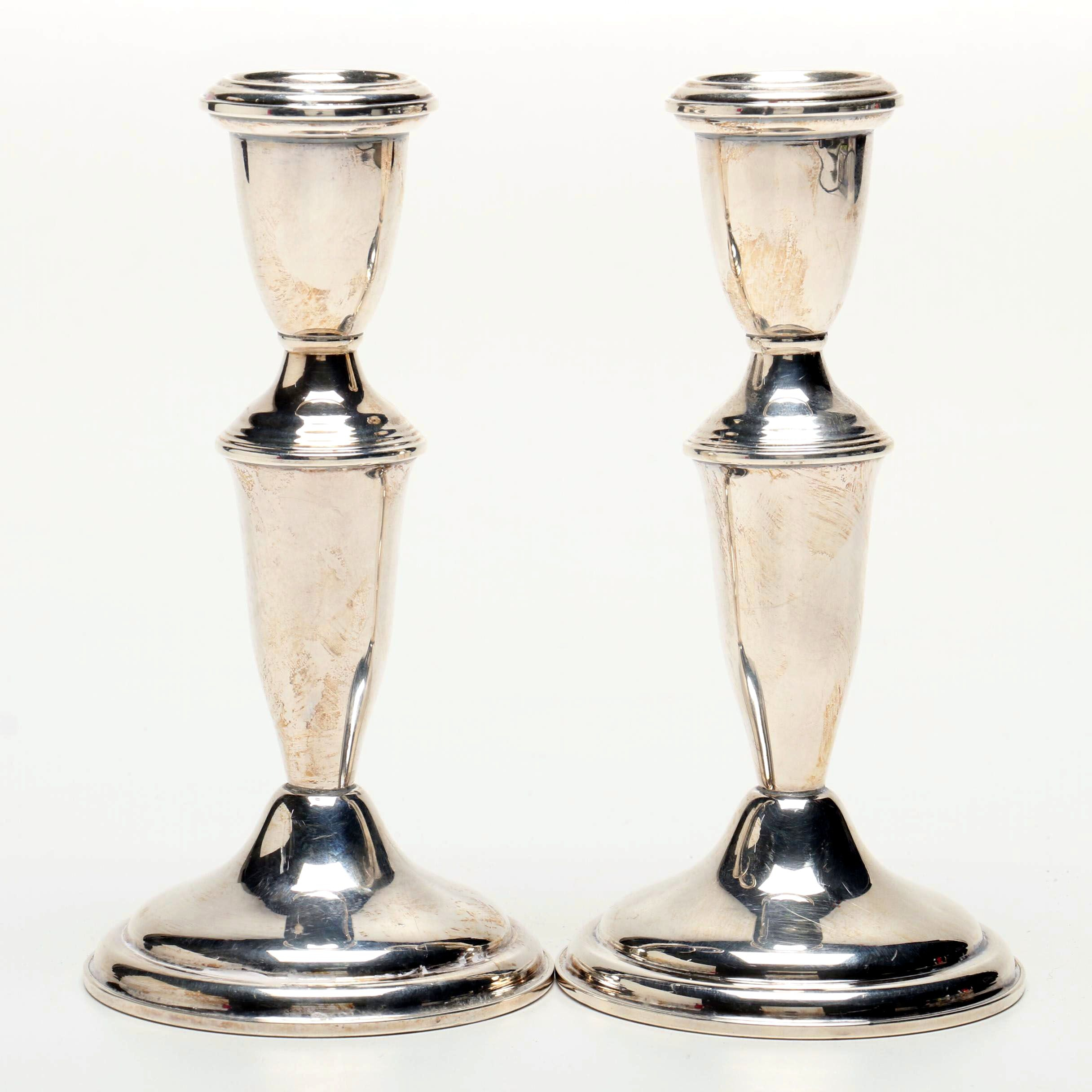 Empire Weighted Sterling Silver Candlesticks