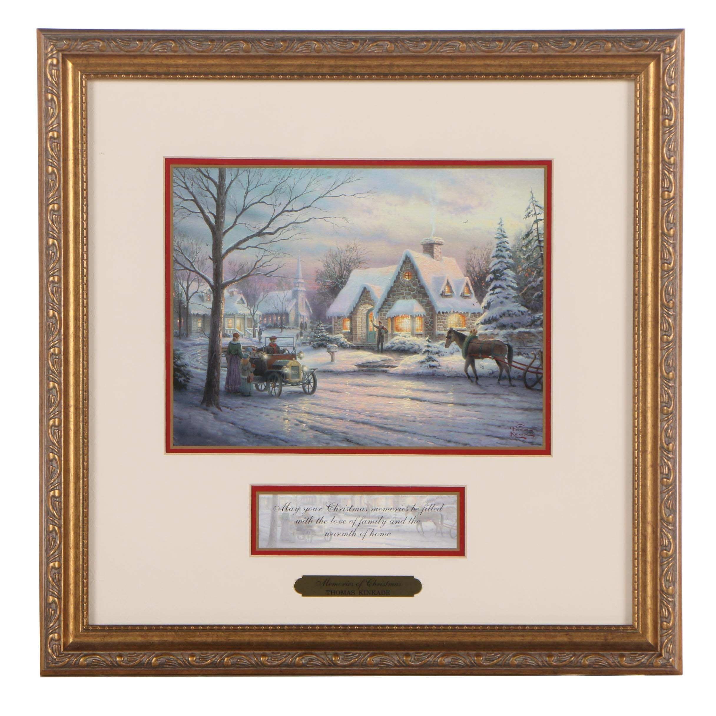 "Offset Lithograph after Thomas Kinkade ""Memories of Christmas"""