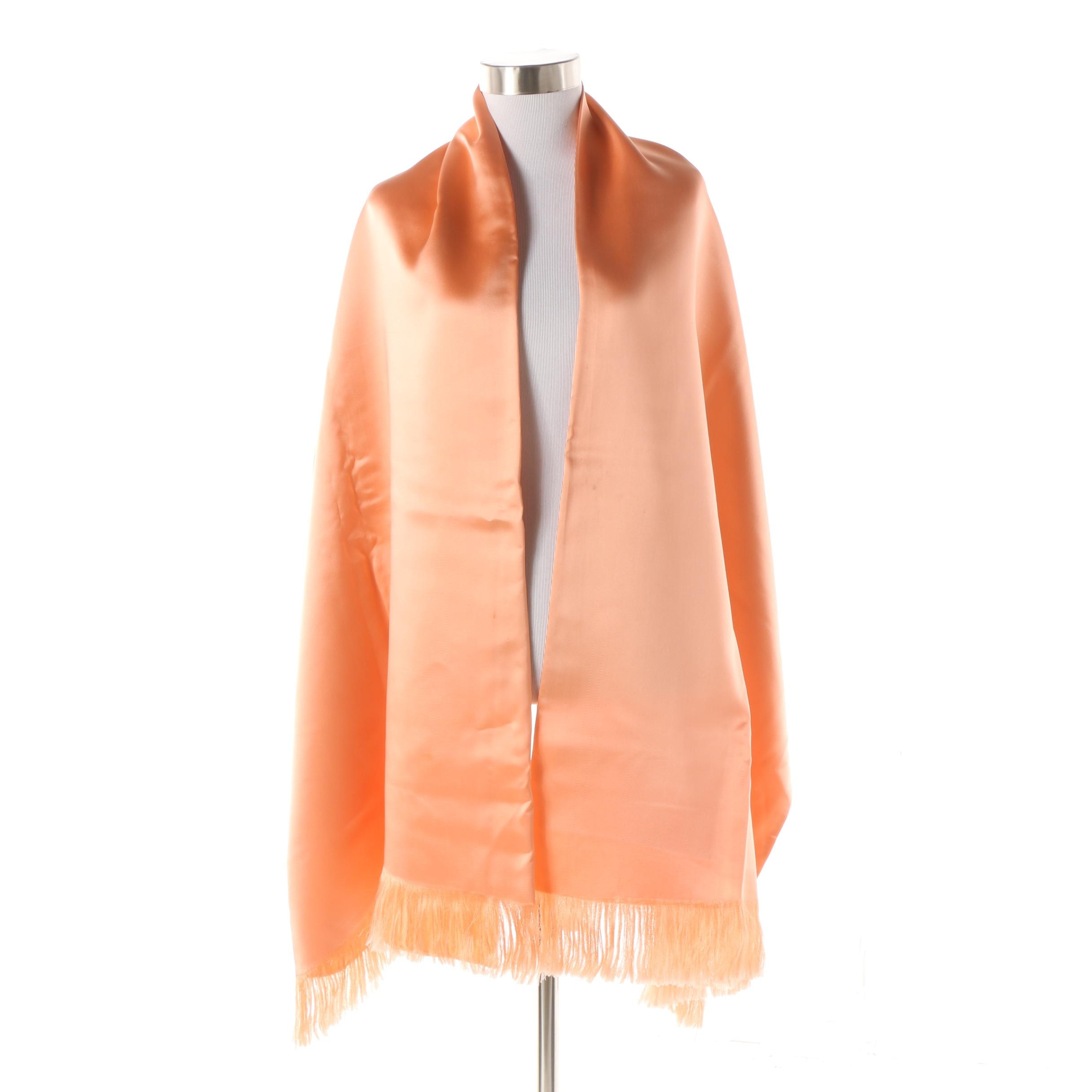 Blush Peach Satin Shawl with Fringe