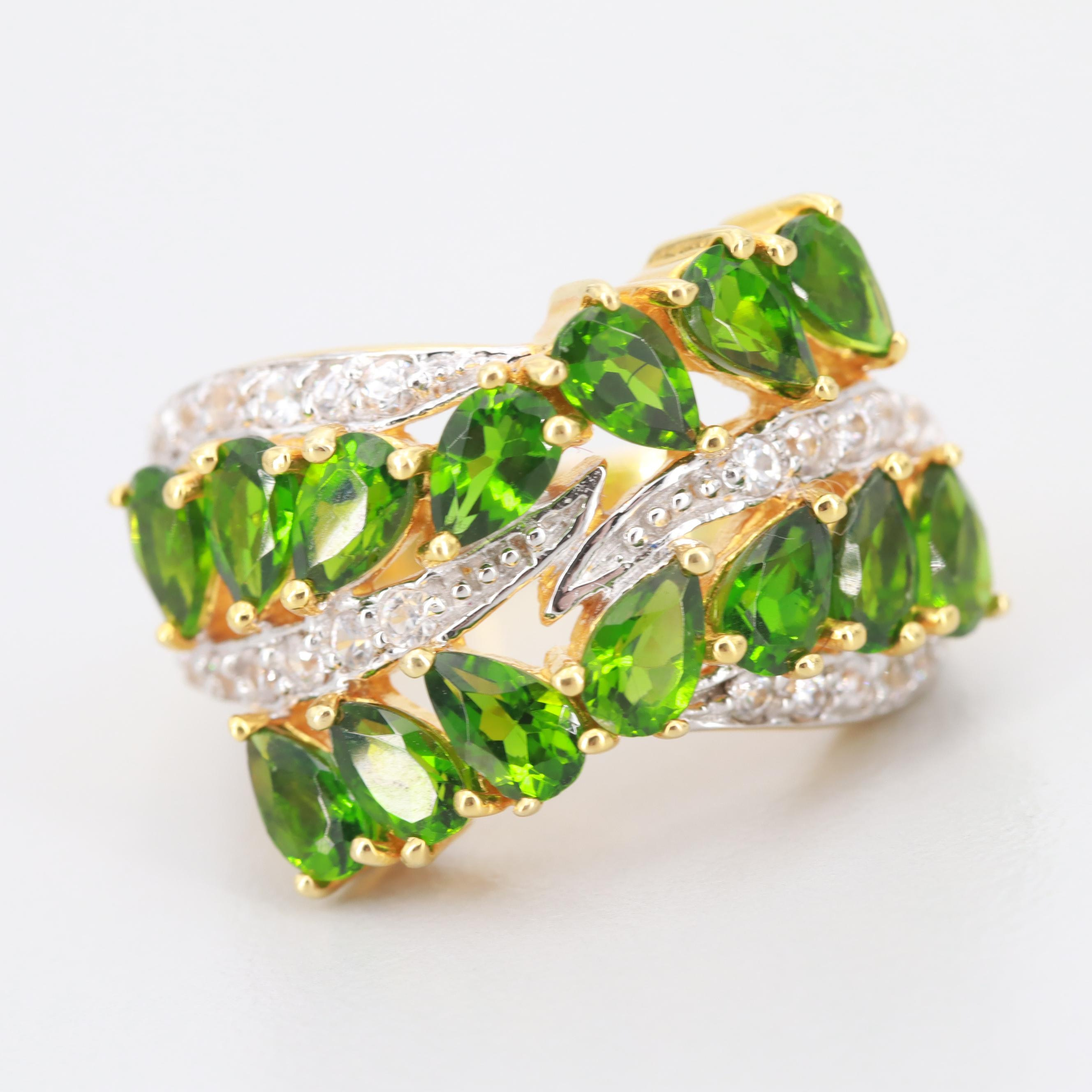 Gold Wash on Sterling Silver Chrome Diopside and Synthetic White Sapphire Ring