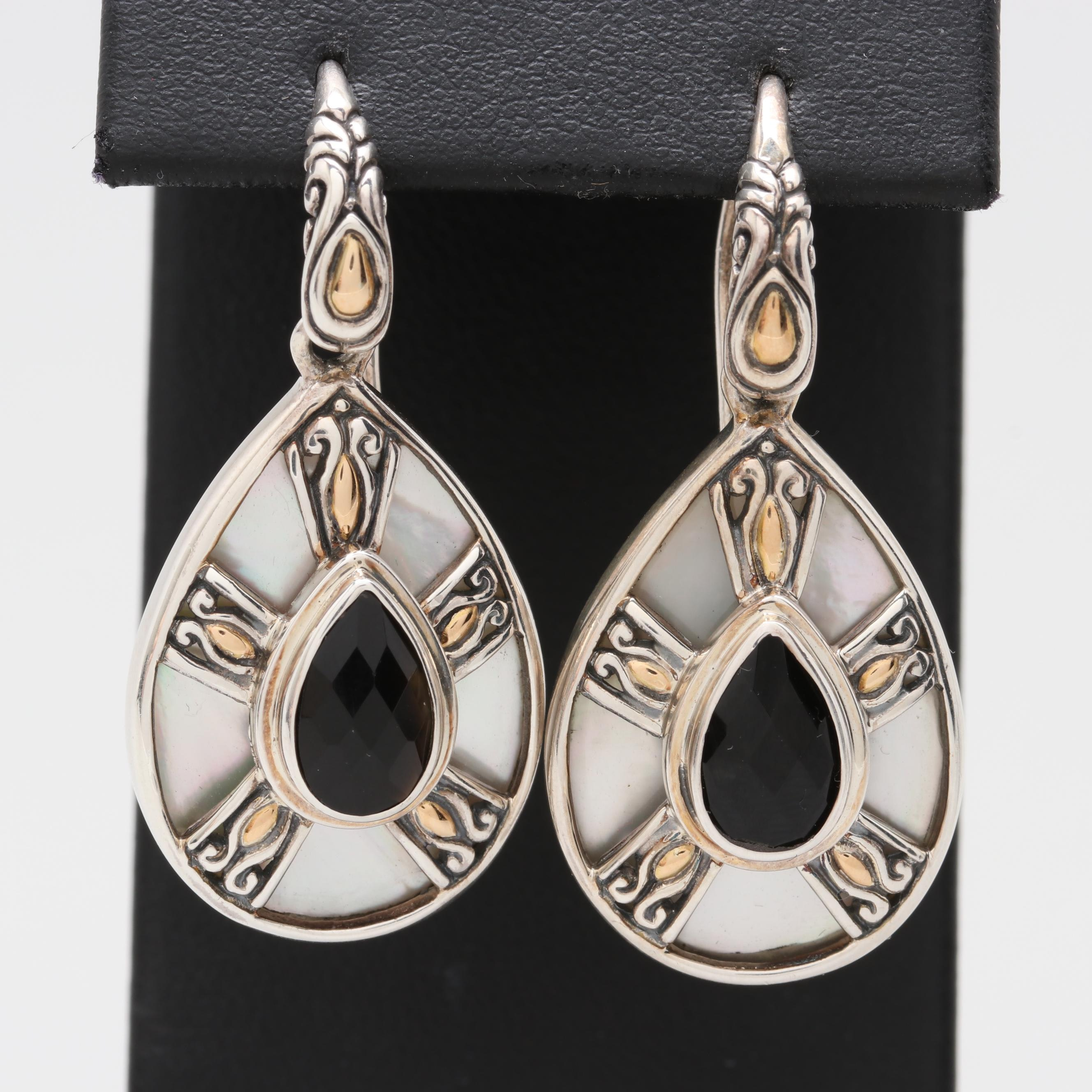 Robert Manse Sterling Black Onyx and Mother of Pearl Earrings with 18K Accents